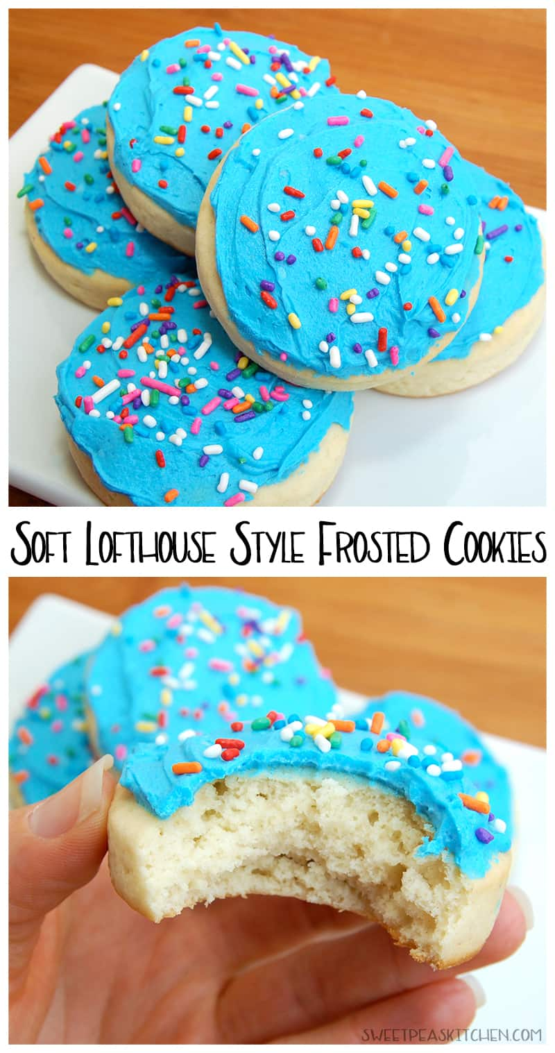 collage of blue frosted Lofthouse cookies