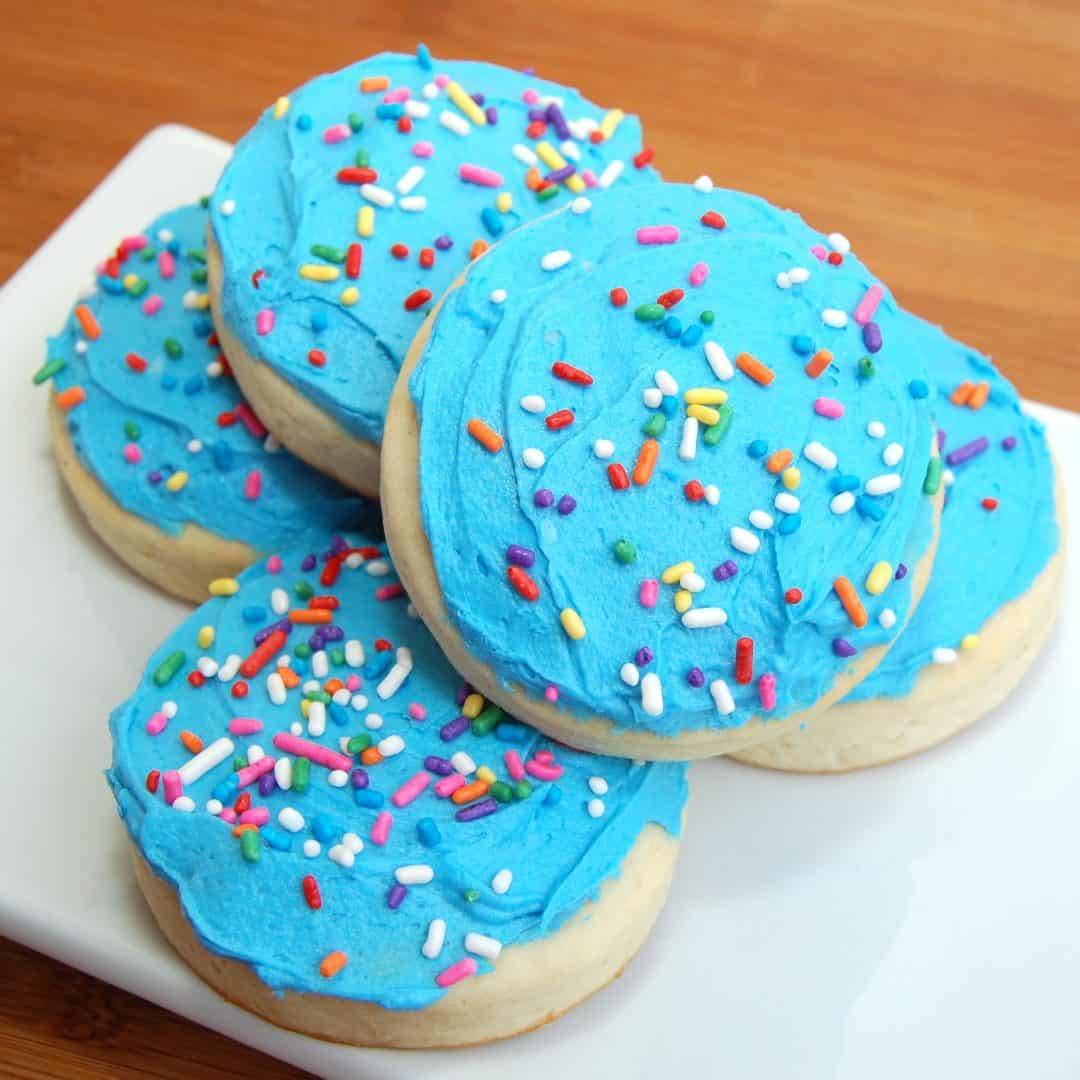 soft lofthouse cookies with blue frosting