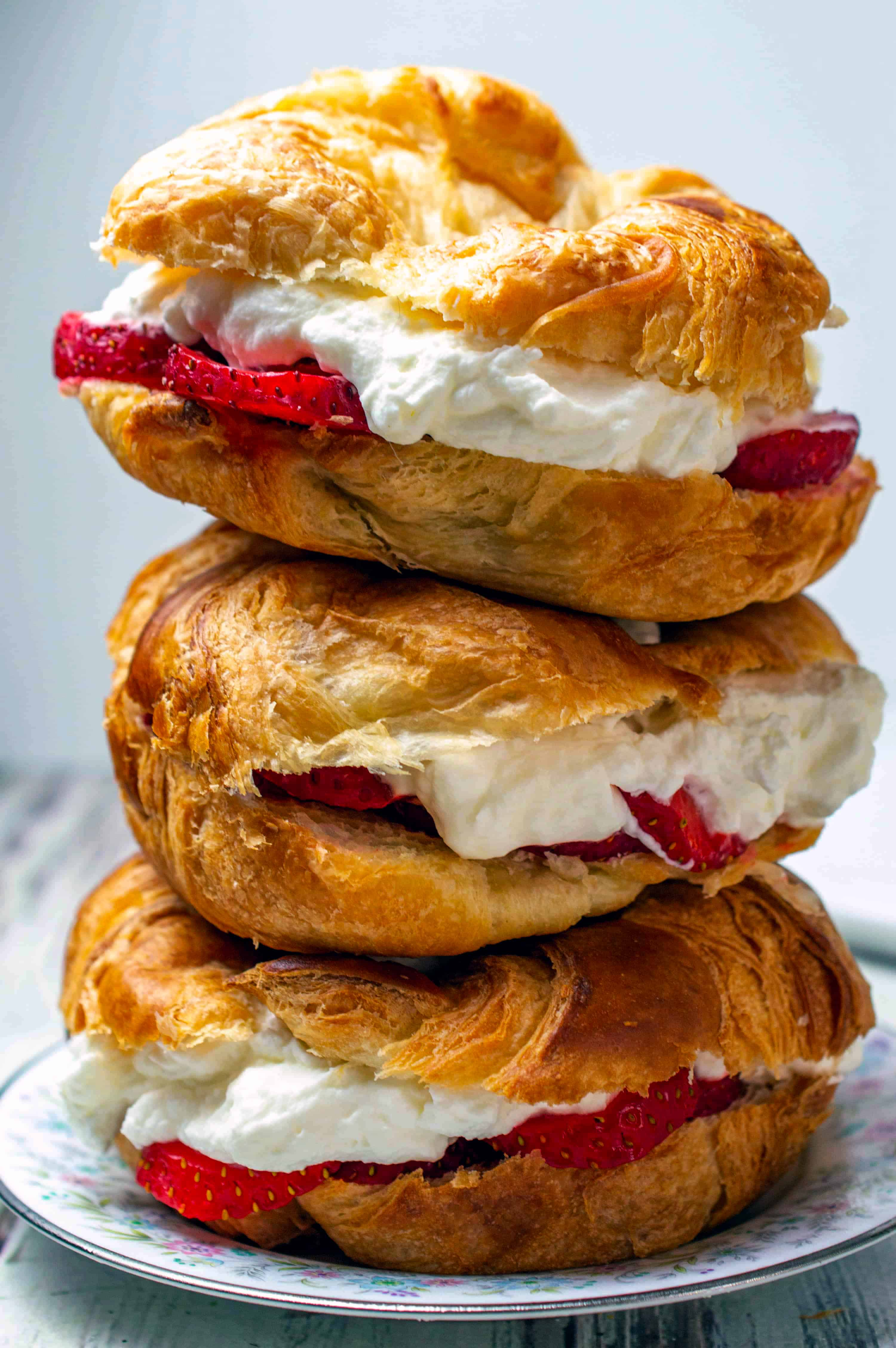 Strawberry Croissant Sandwich with Almond Whipped Cream