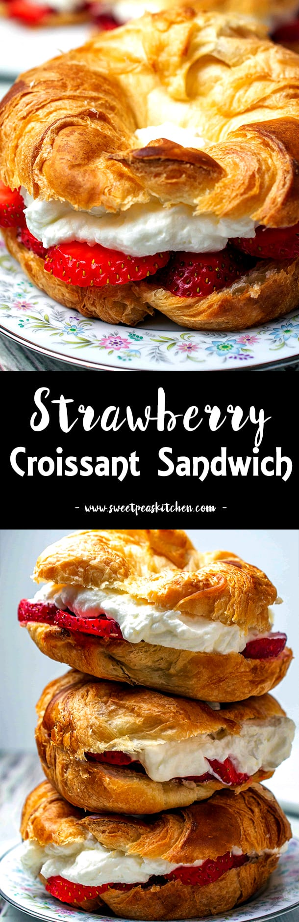 Strawberry Almond Whipped Cream Filled Croissants