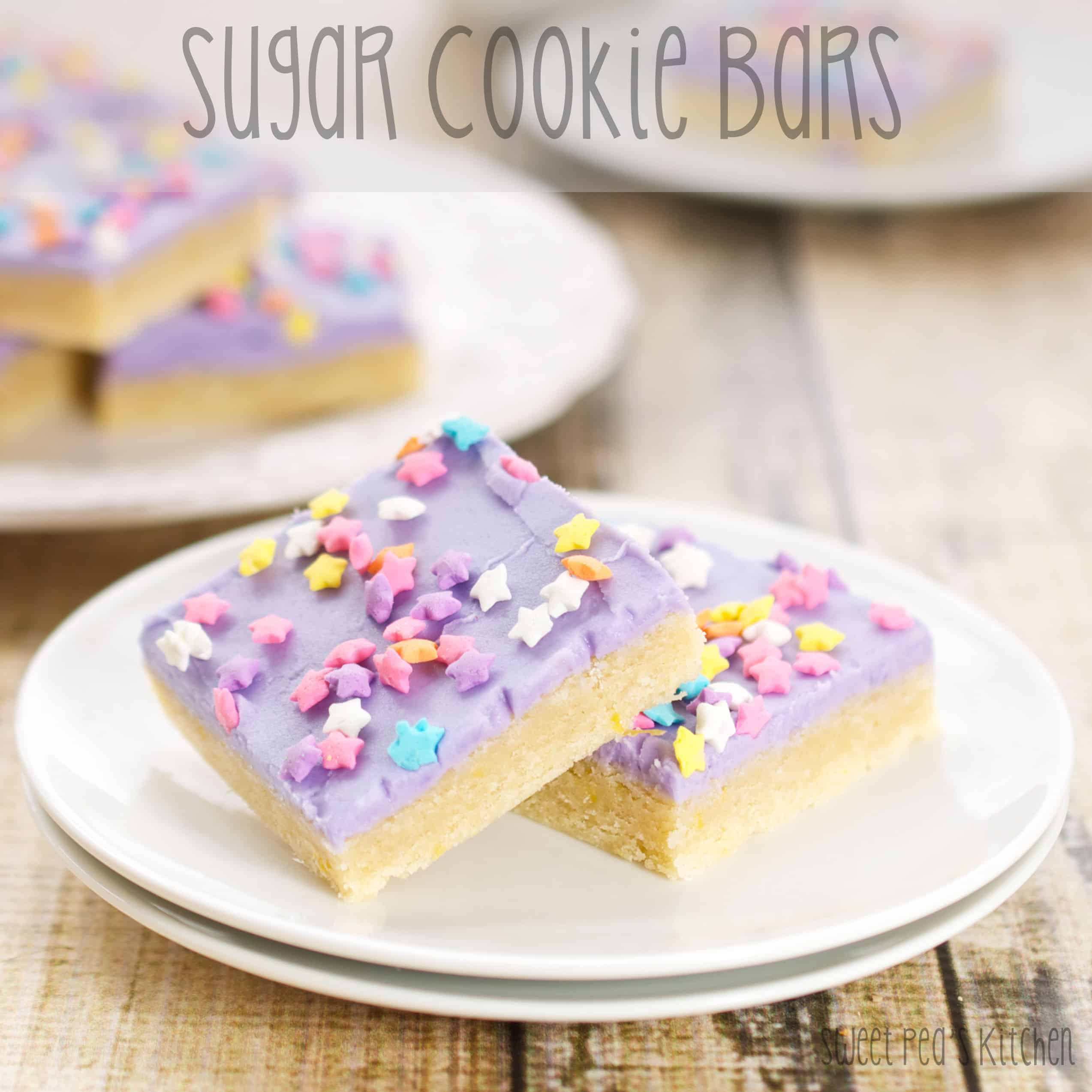 The Best Easy Sugar Cookie Bars Recipe - Enjoy these Sugar Cookie Bars without all the fuss of traditional sugar cookies. These easy bar cookies are great for potlucks and parties. Best cookie bar recipe ever! #sugarcookies #barcookies #sugar #bar #easy #cookies #recipe #dessert #best #sweetpeaskitchen