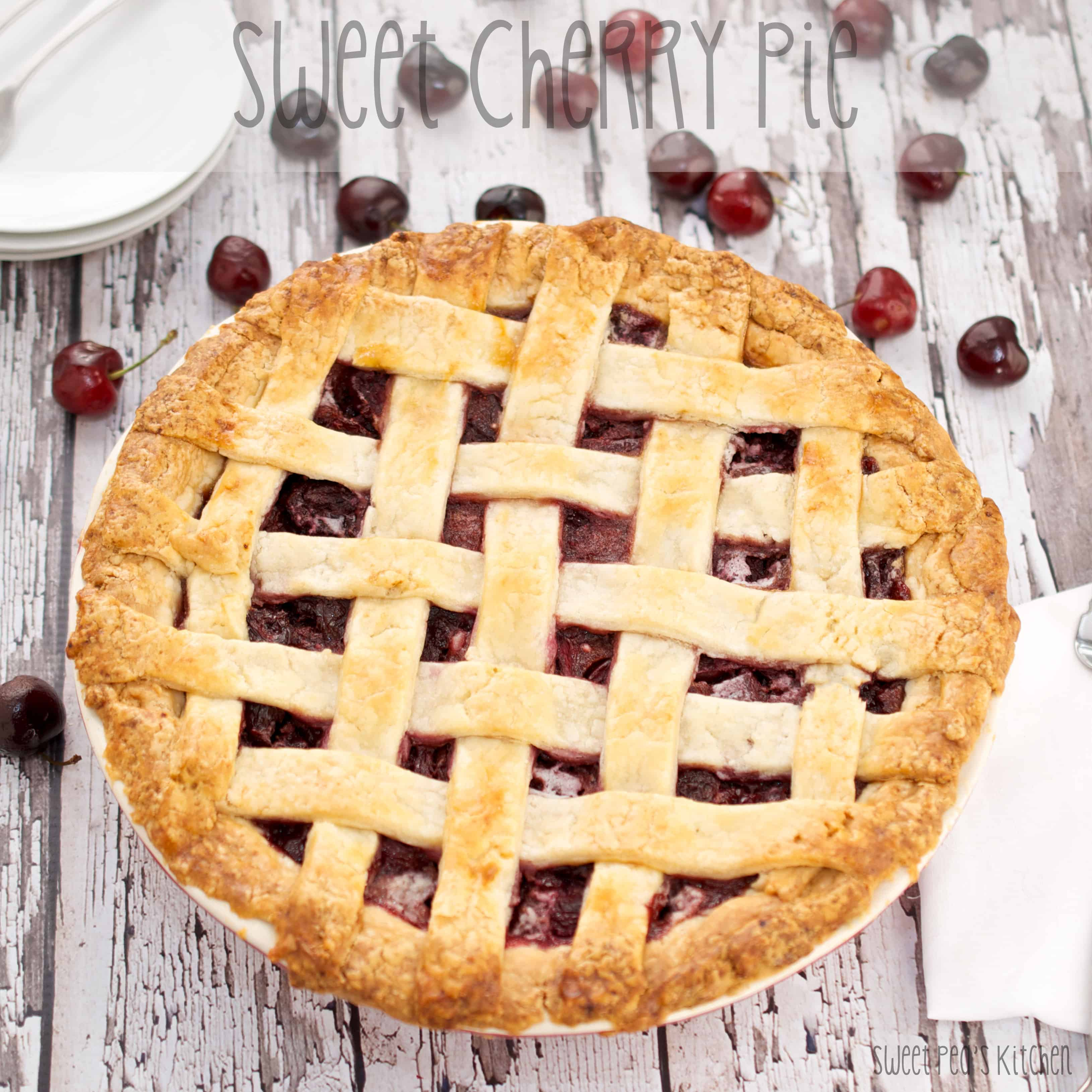 ready to eat sweet cherry pie in pan