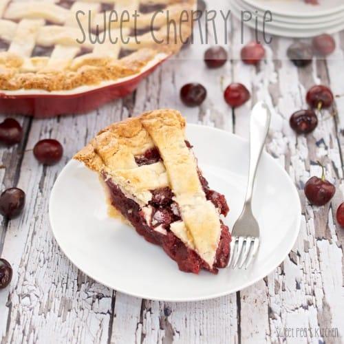 slice of sweet cherry pie