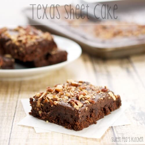 piece of texas sheet cake ready to serve