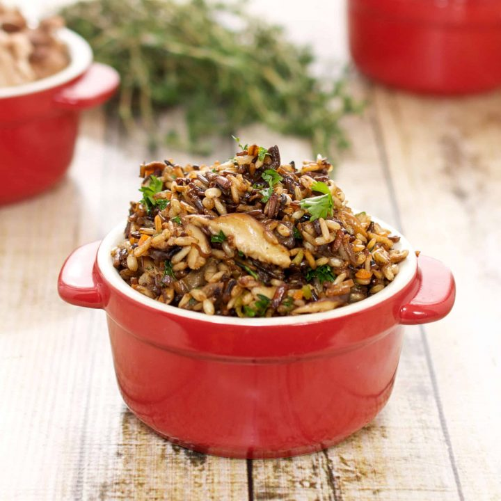Wild Rice Stuffing with Carrots, Mushrooms and Thyme