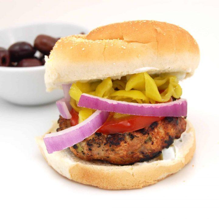 Greek Style Chicken Burgers with Tzatziki Sauce