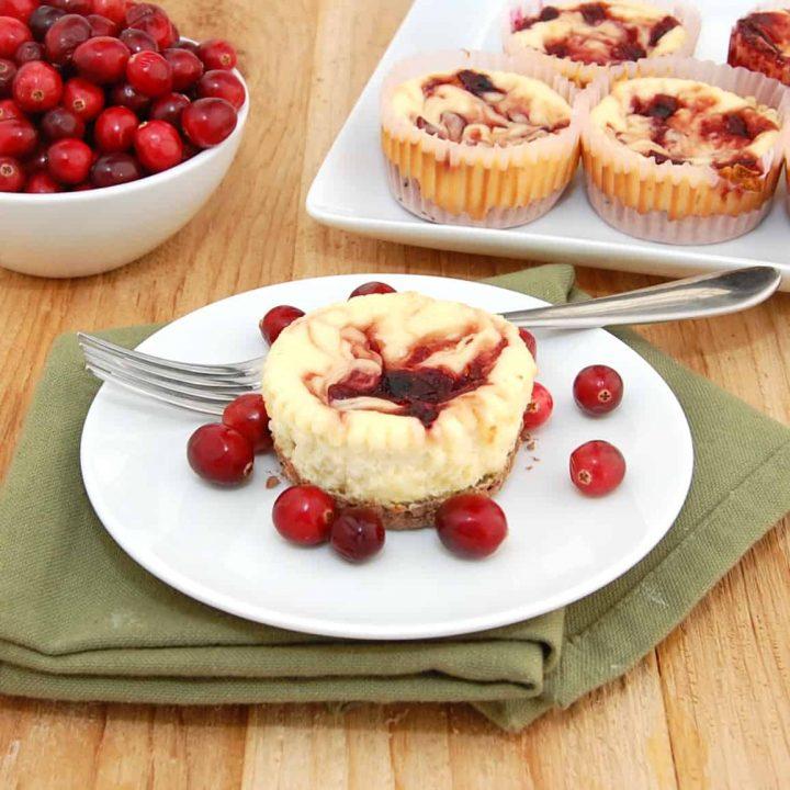 Mini Cranberry Swirl Cheesecakes with Chocolate Crust