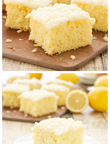 Long collage image of prepared moist lemon cake recipe