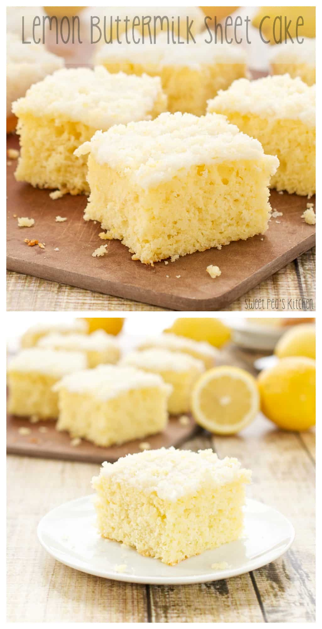 Longer pinterest style collage picture of lemon cake recipe with fresh lemons in the background