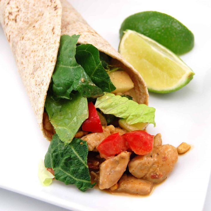 Peanut Chicken Salad Wraps
