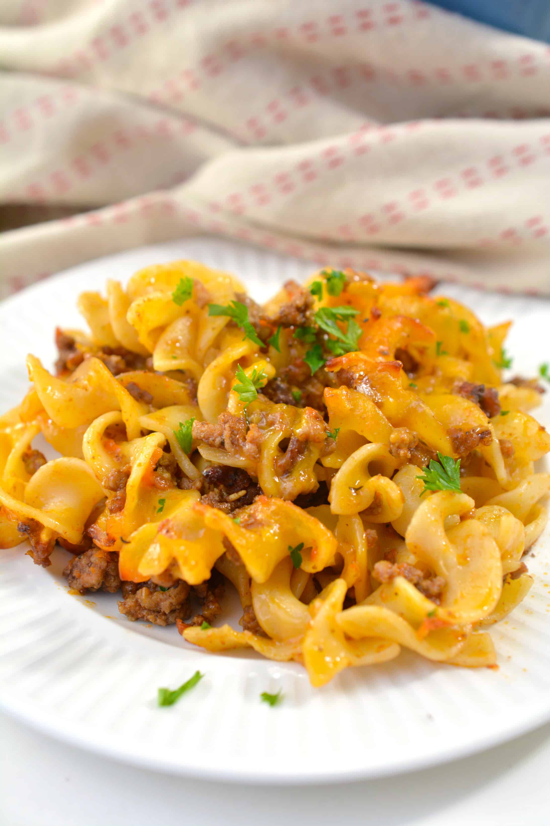 Beef Noodle Casserole Recipe on a white plate