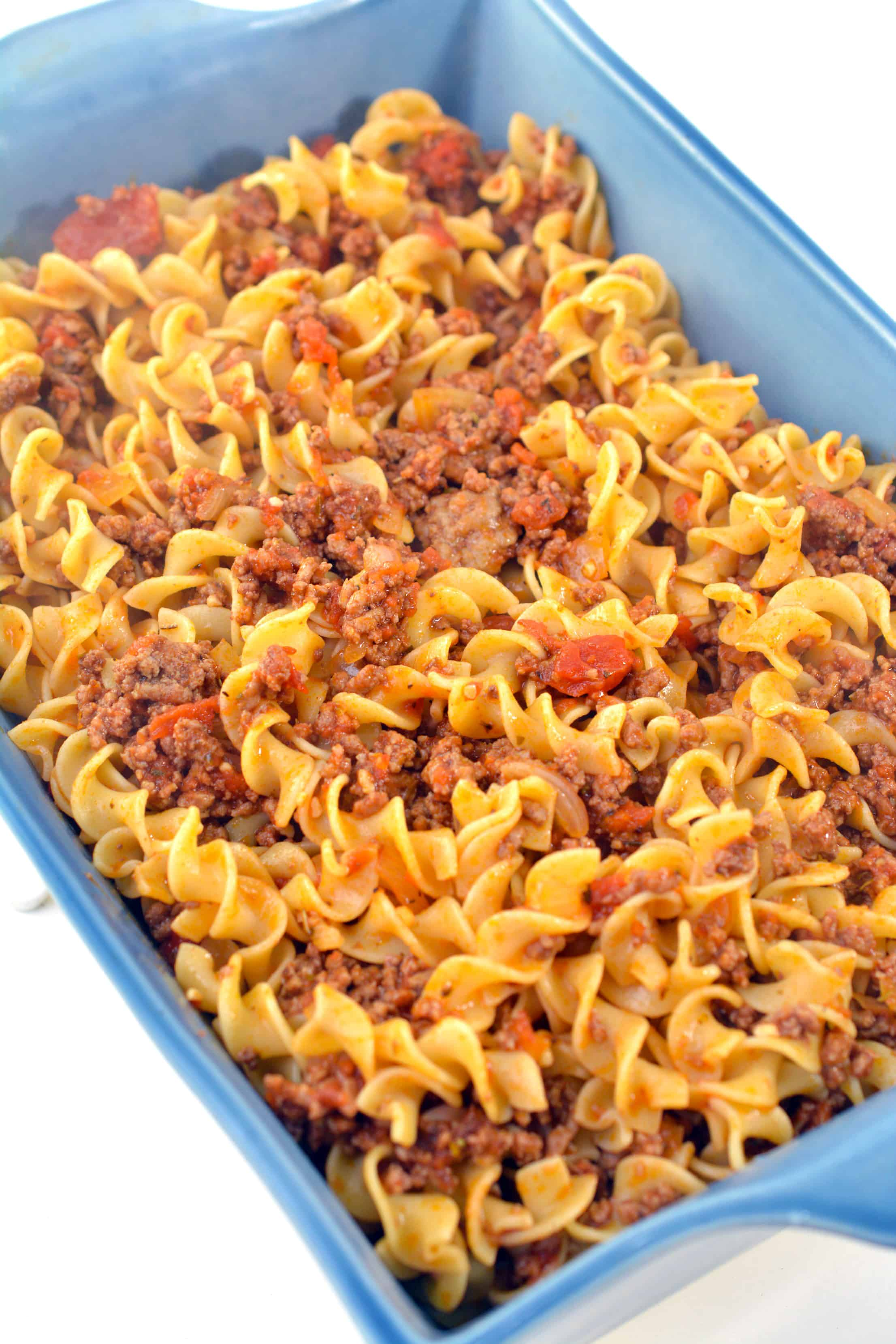 noodles and beef in casserole dish