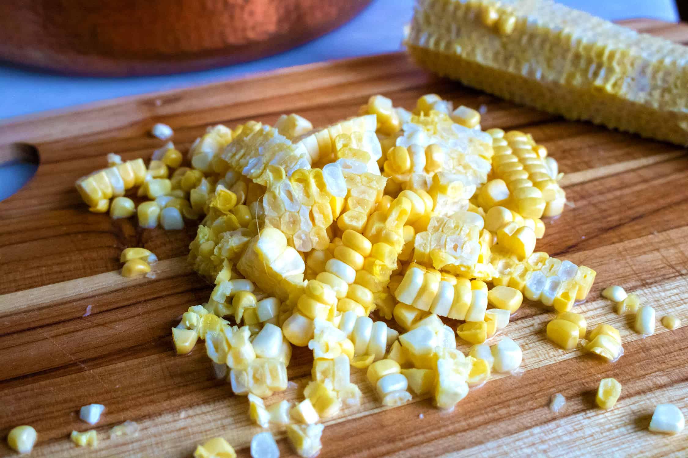 corn on cutting board
