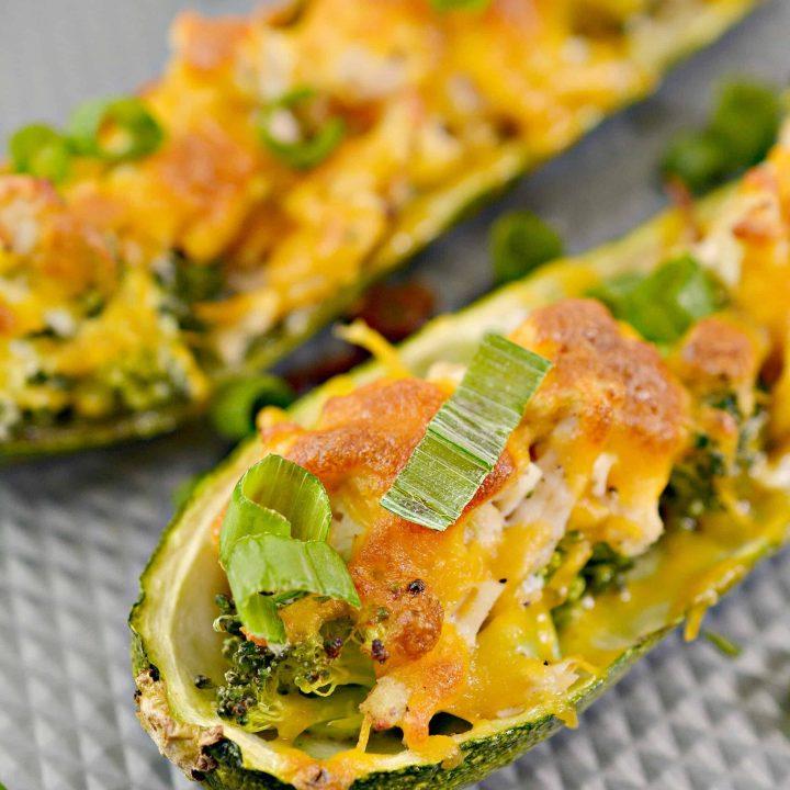 Broccoli Cheese Chicken Zucchini Boats