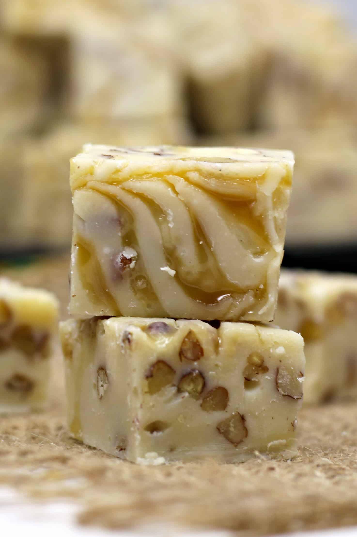 caramel pecan white chocolate fudge