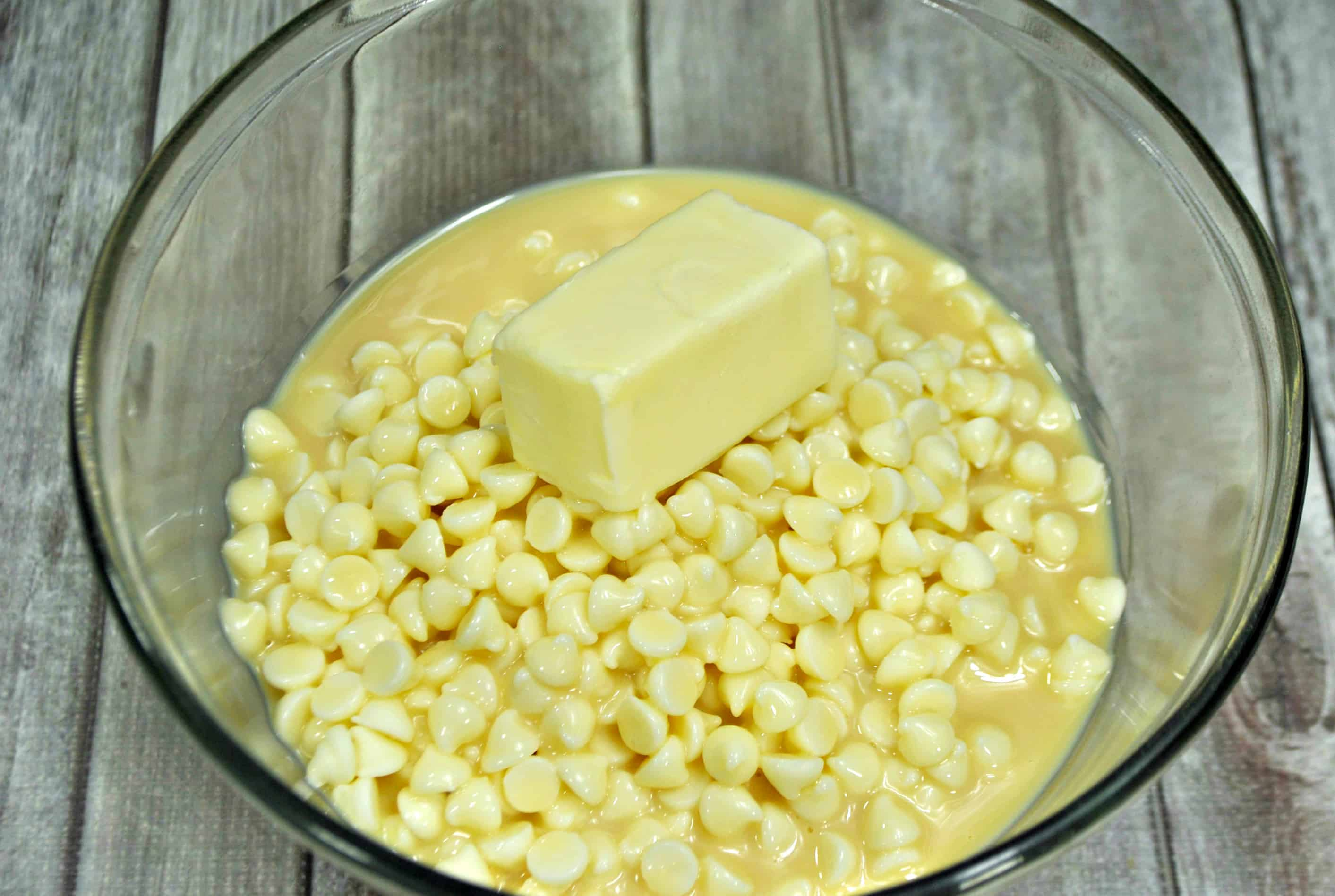white chocolate chips with condensed milk and butter