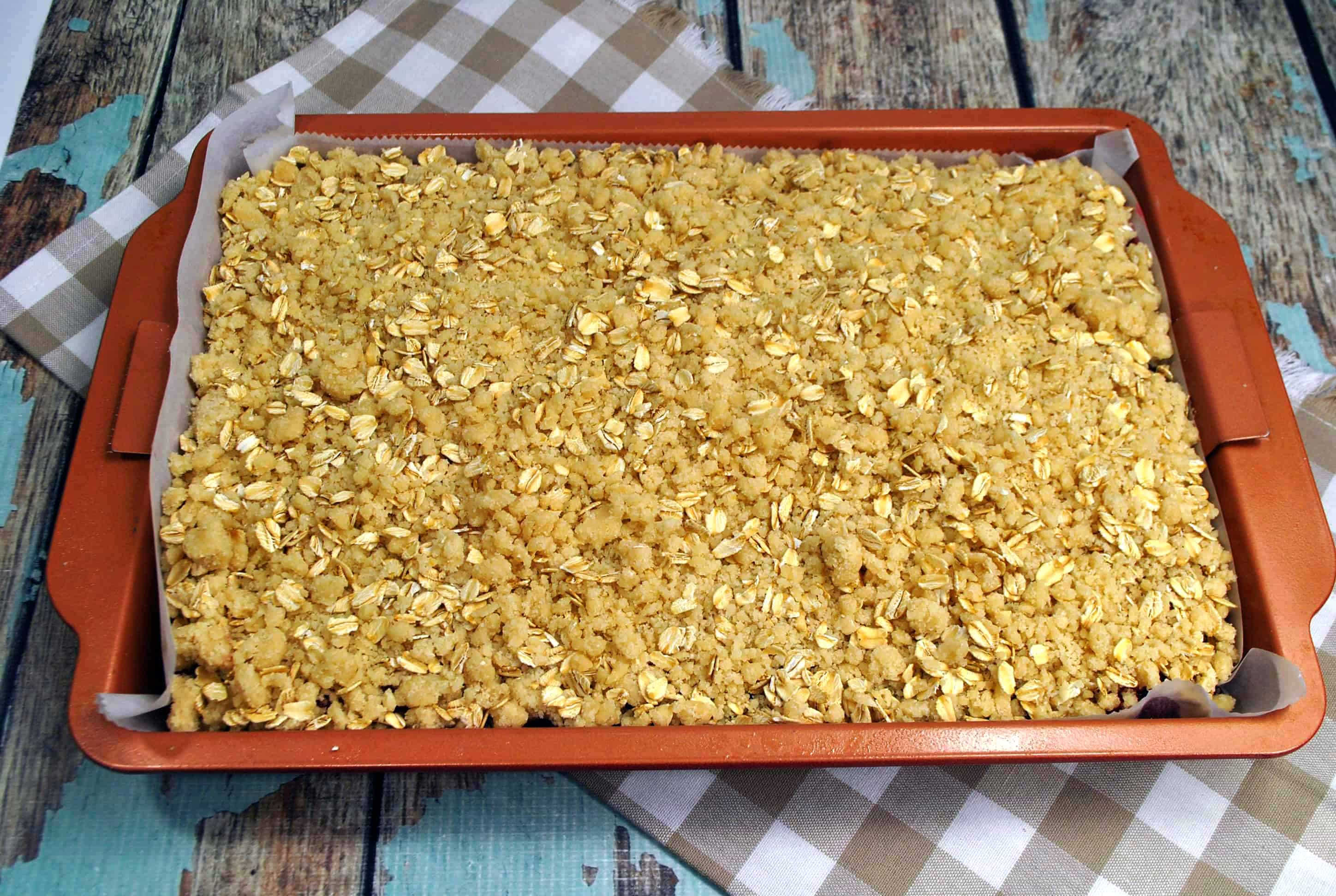 crumble topping in casserole dish