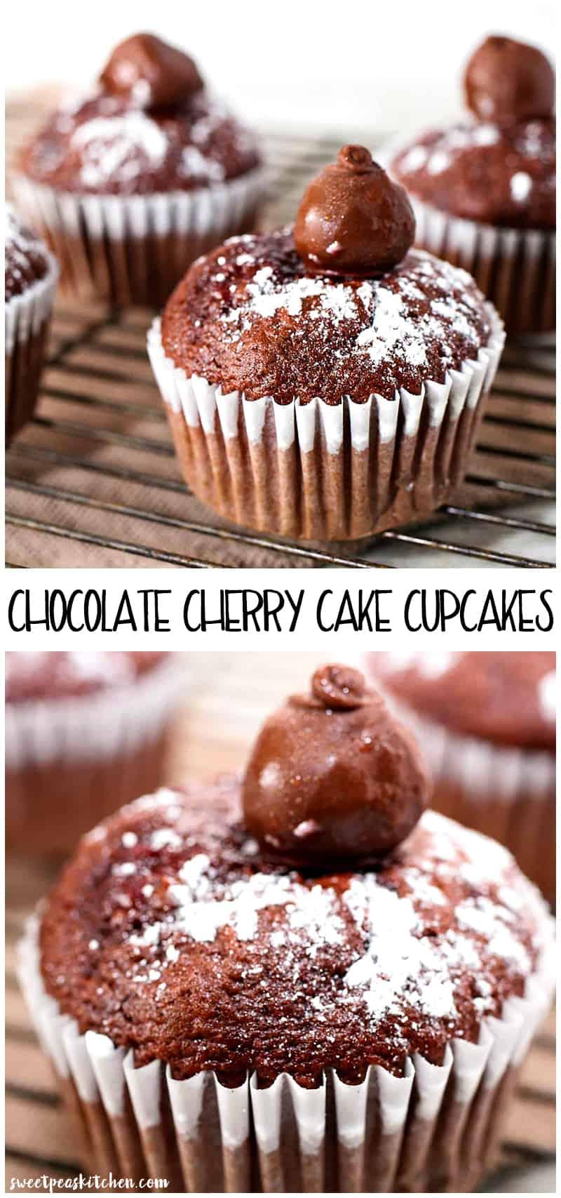 Chocolate Cherry Cake Cupcakes