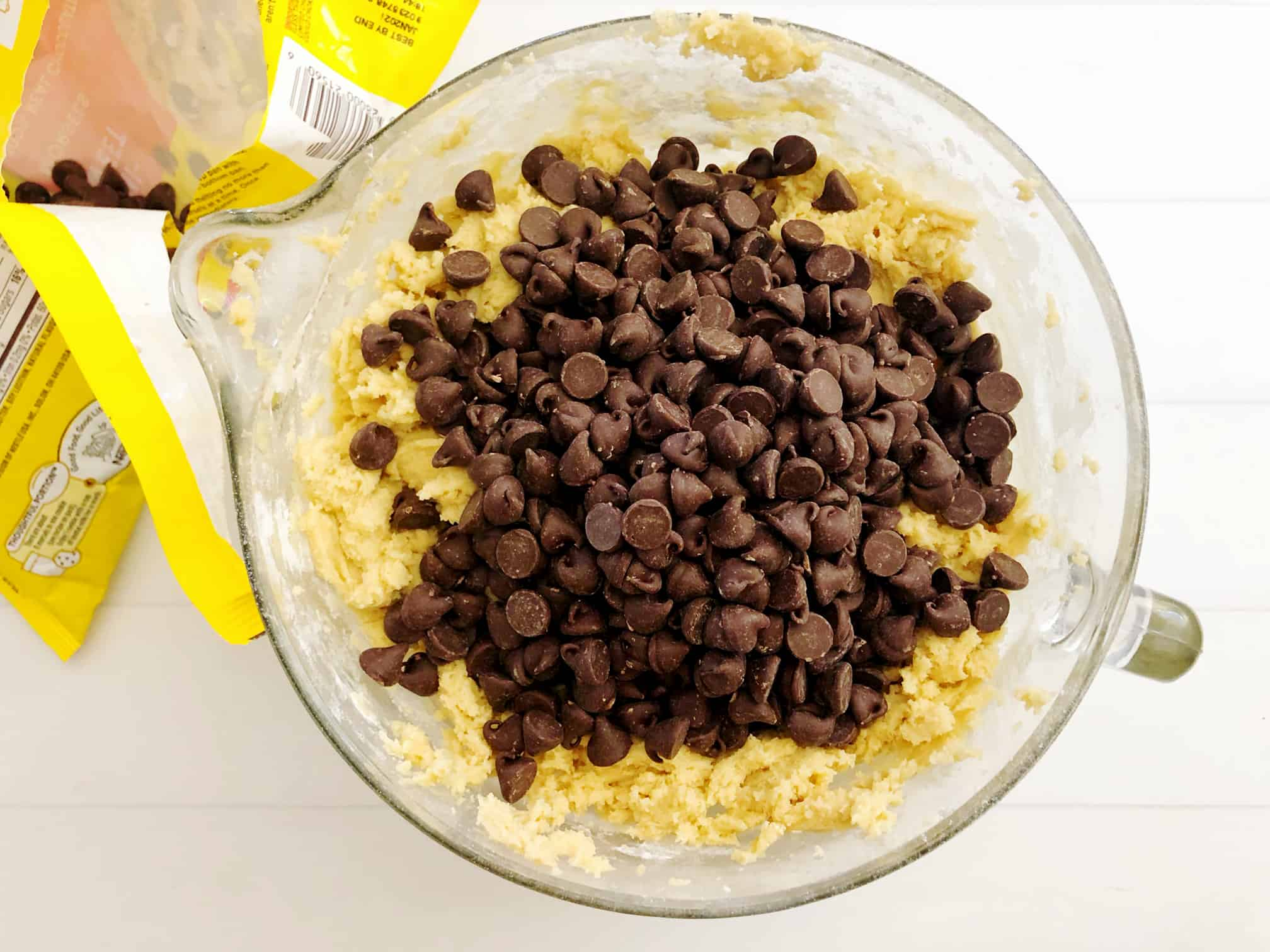chocolate chips on top of cookie dough