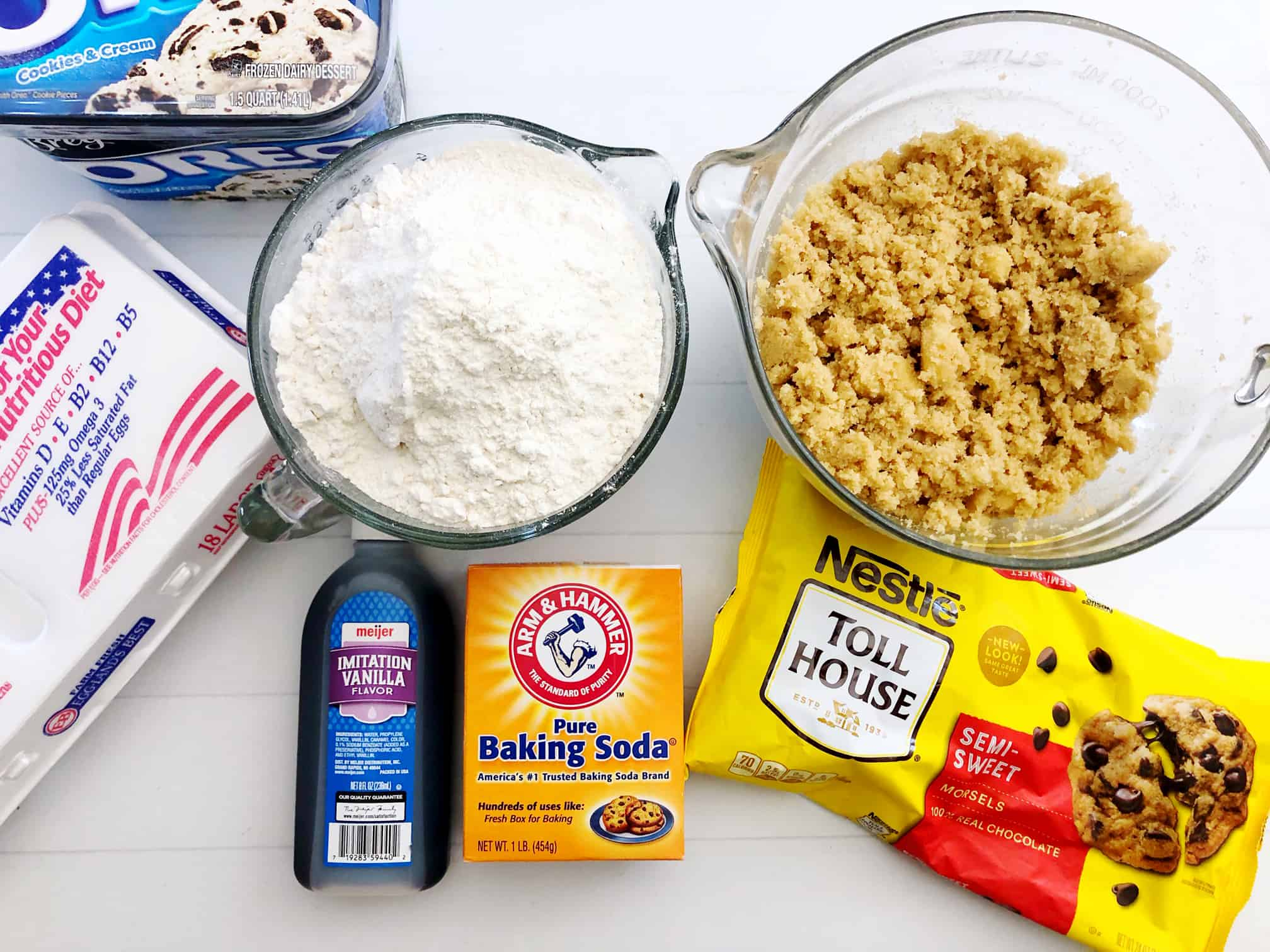 ingredients for chocolate chip ice cream cookie sandwich