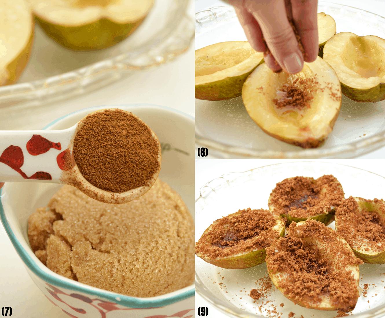 add sugar to the pear