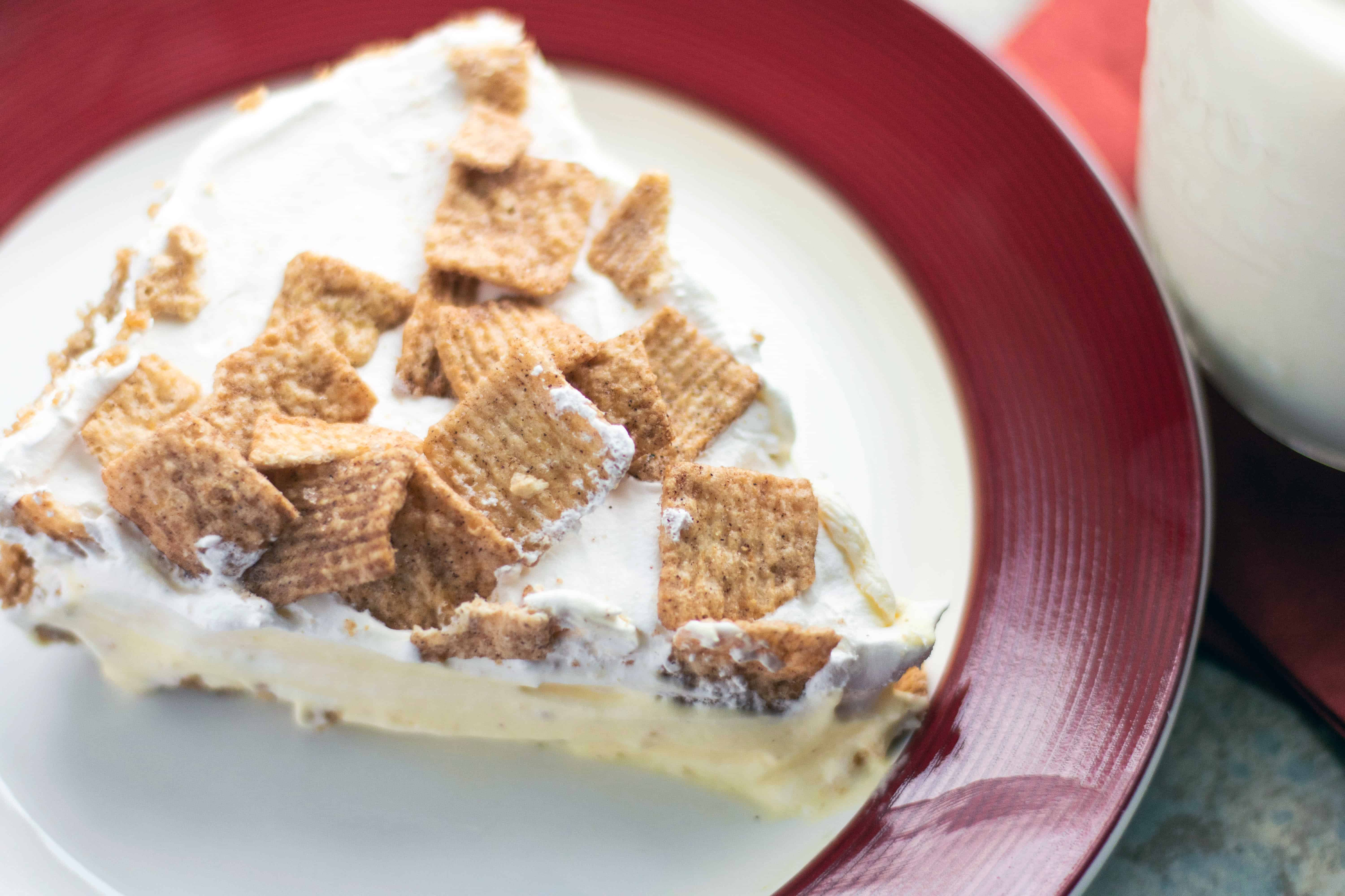 No Bake Cinnamon Toast Crunch Pie