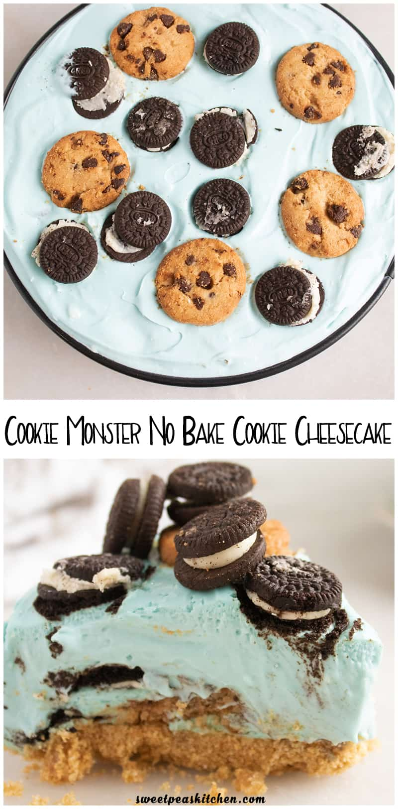 Cookie Monster No Bake Cookie Cheesecake