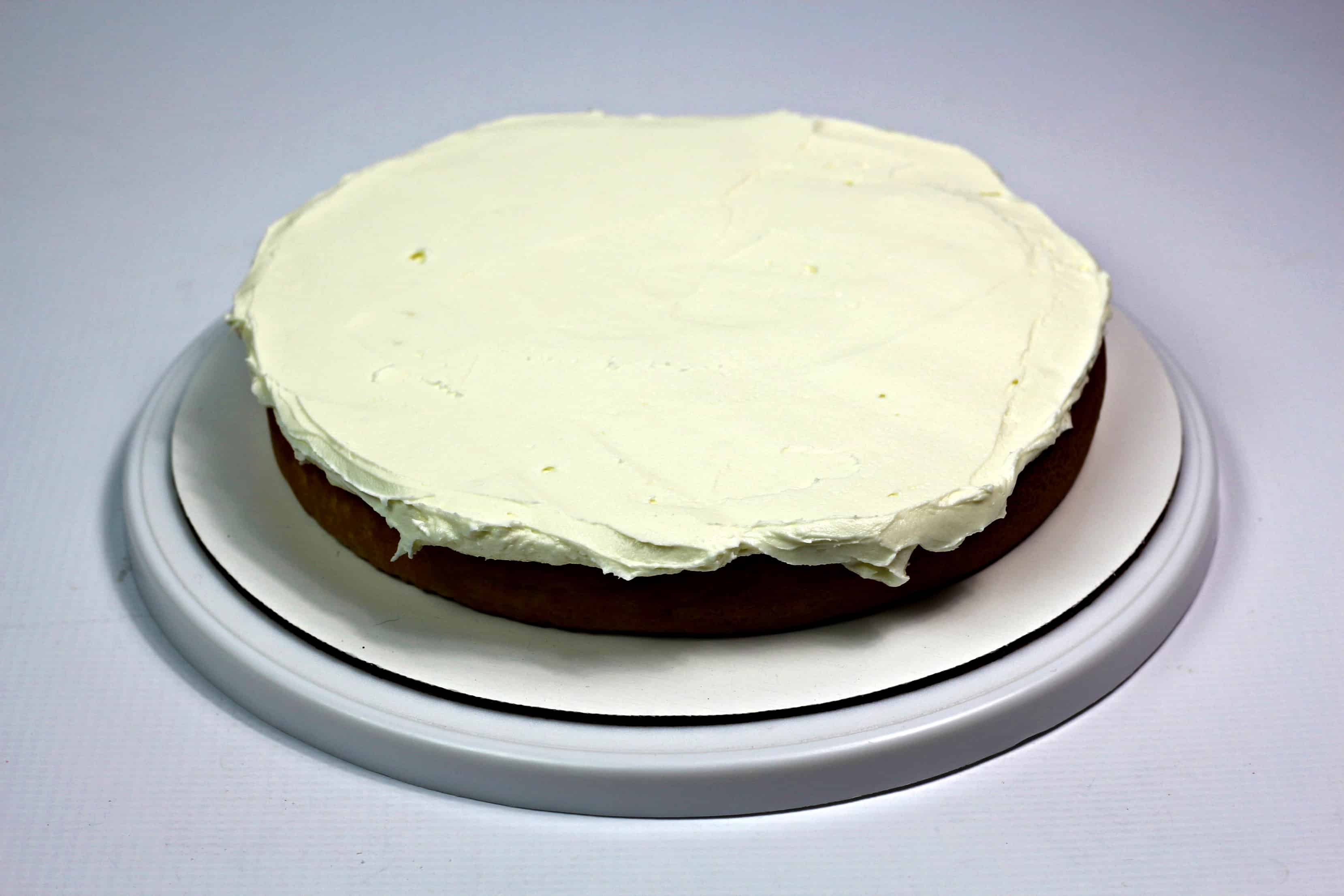 frosted cake with white icing
