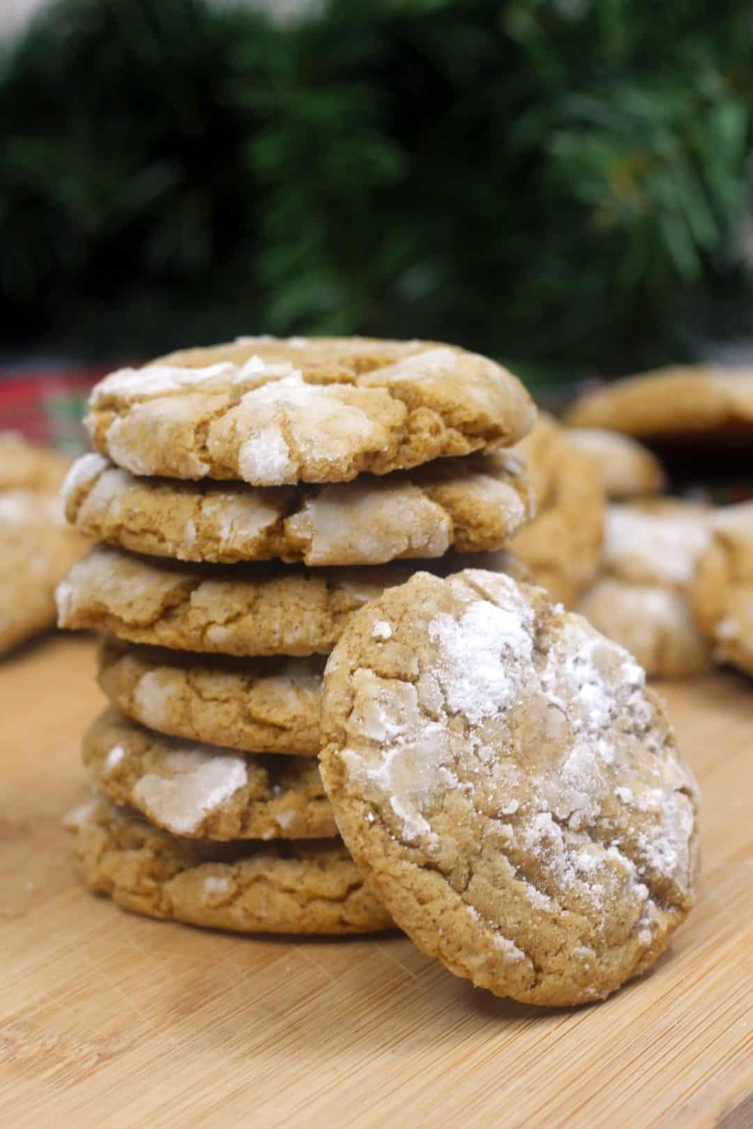 Stack of Gingerbread cookies on a wooden surface
