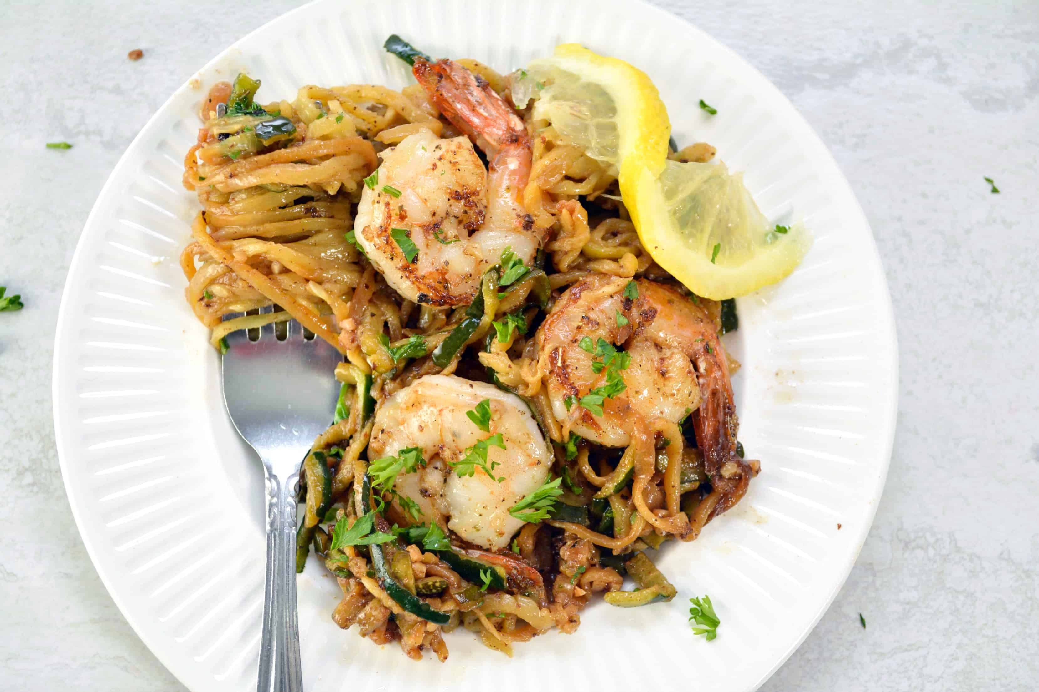 Lemon Garlic Butter Shrimp with Zoodles