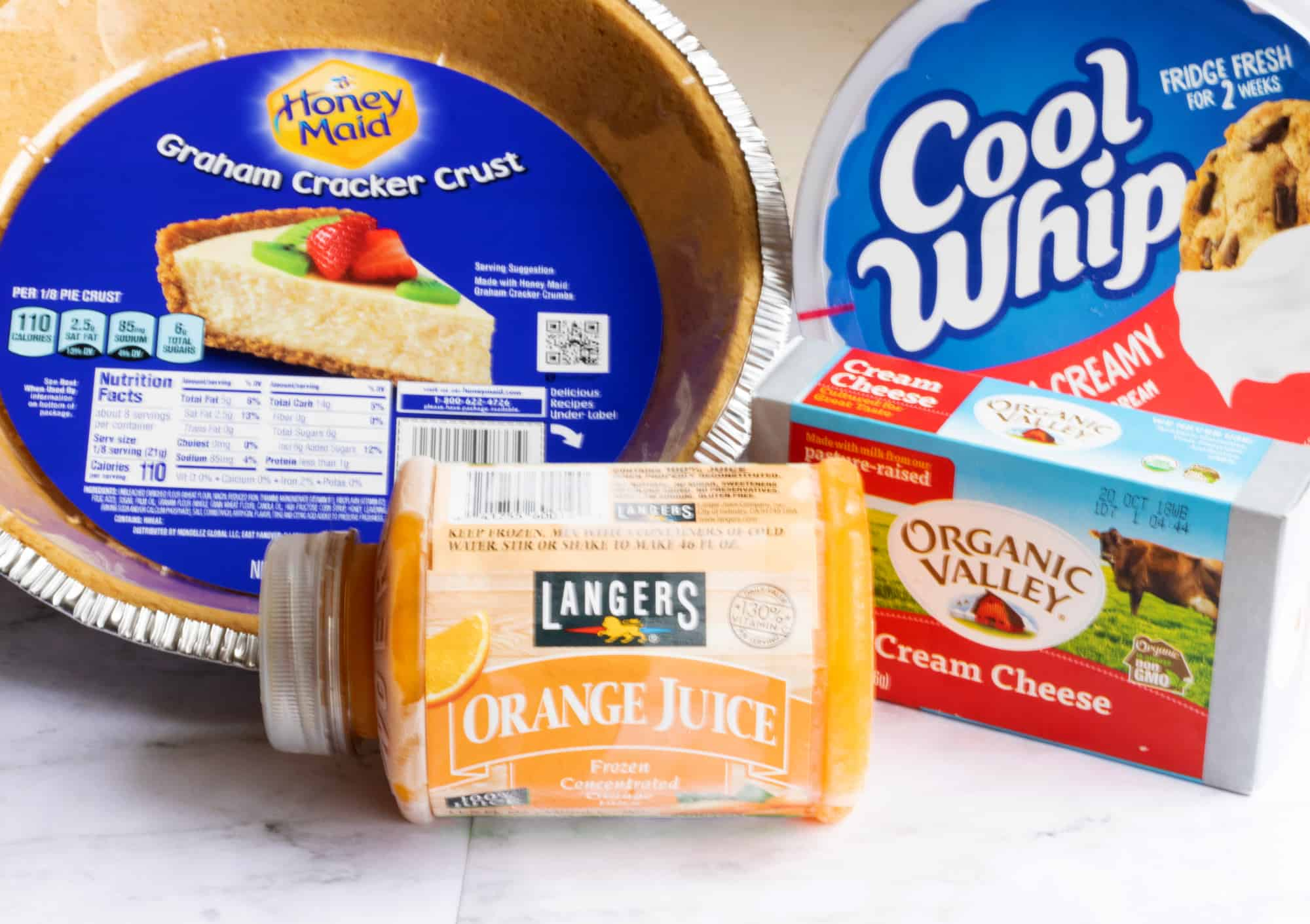 ingredients for orange creamsicle pie