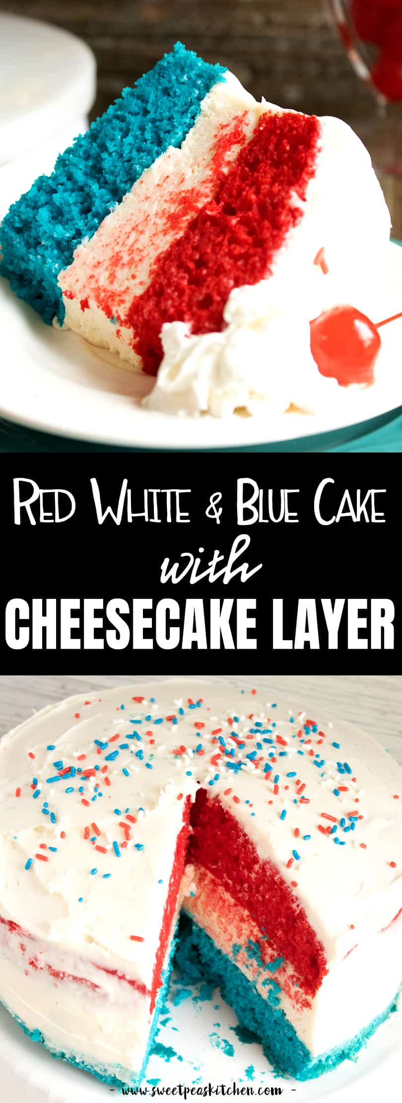 Red White and Blue Cake with Cheesecake Layer