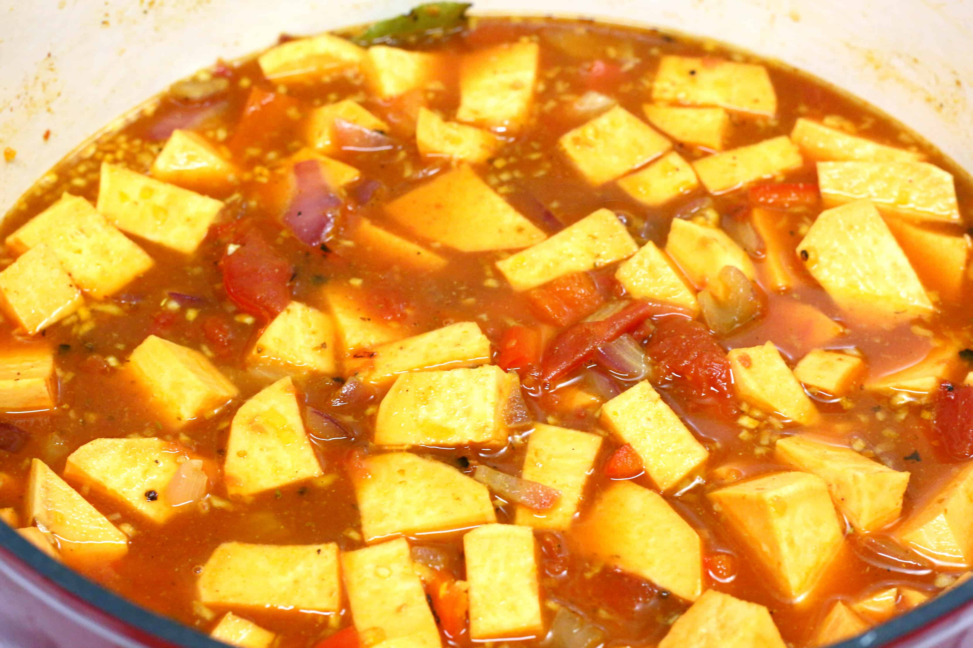 sweet potato stew cooking in a pot