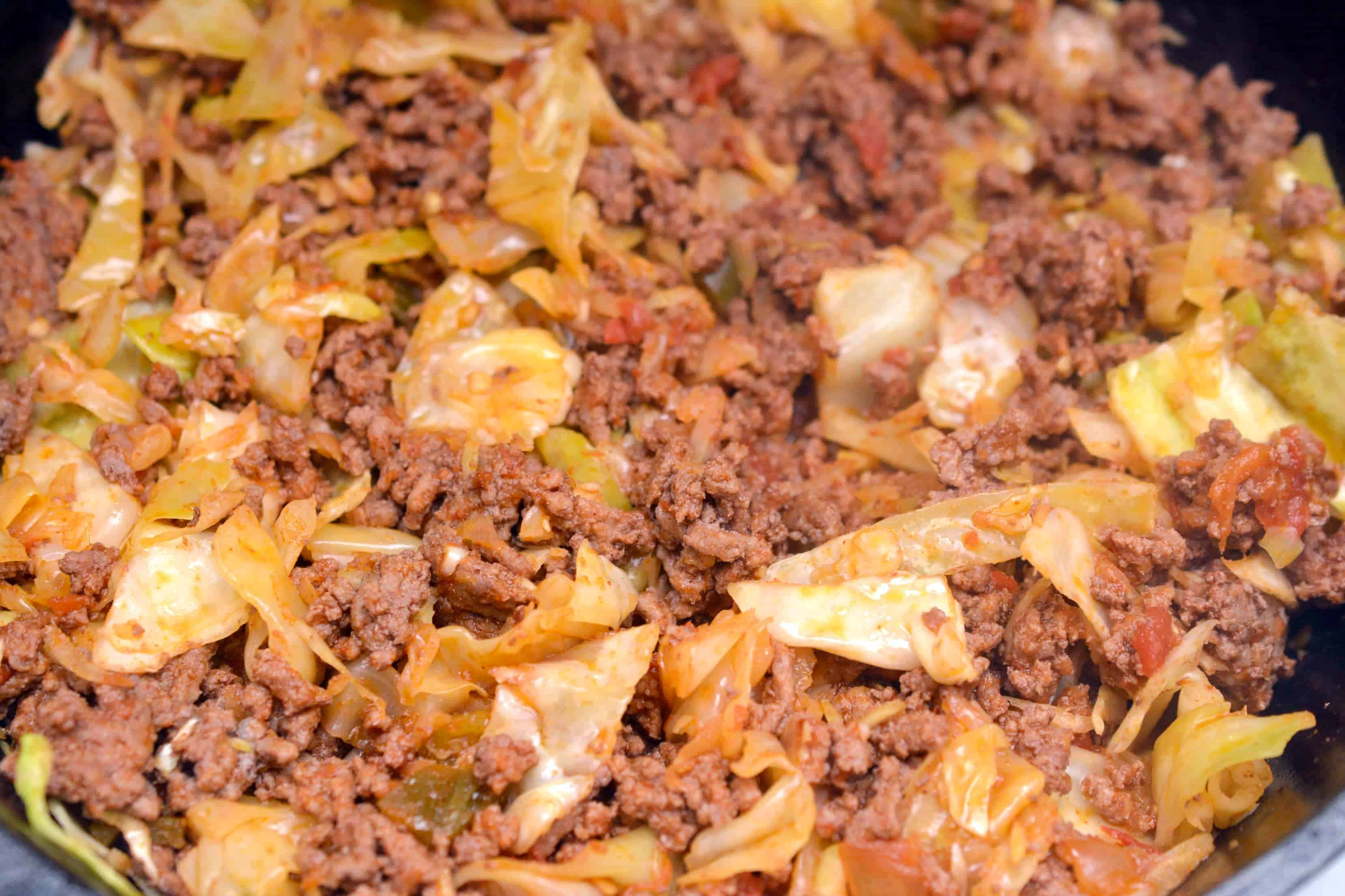 taco ground beef and cabbage in a skillet