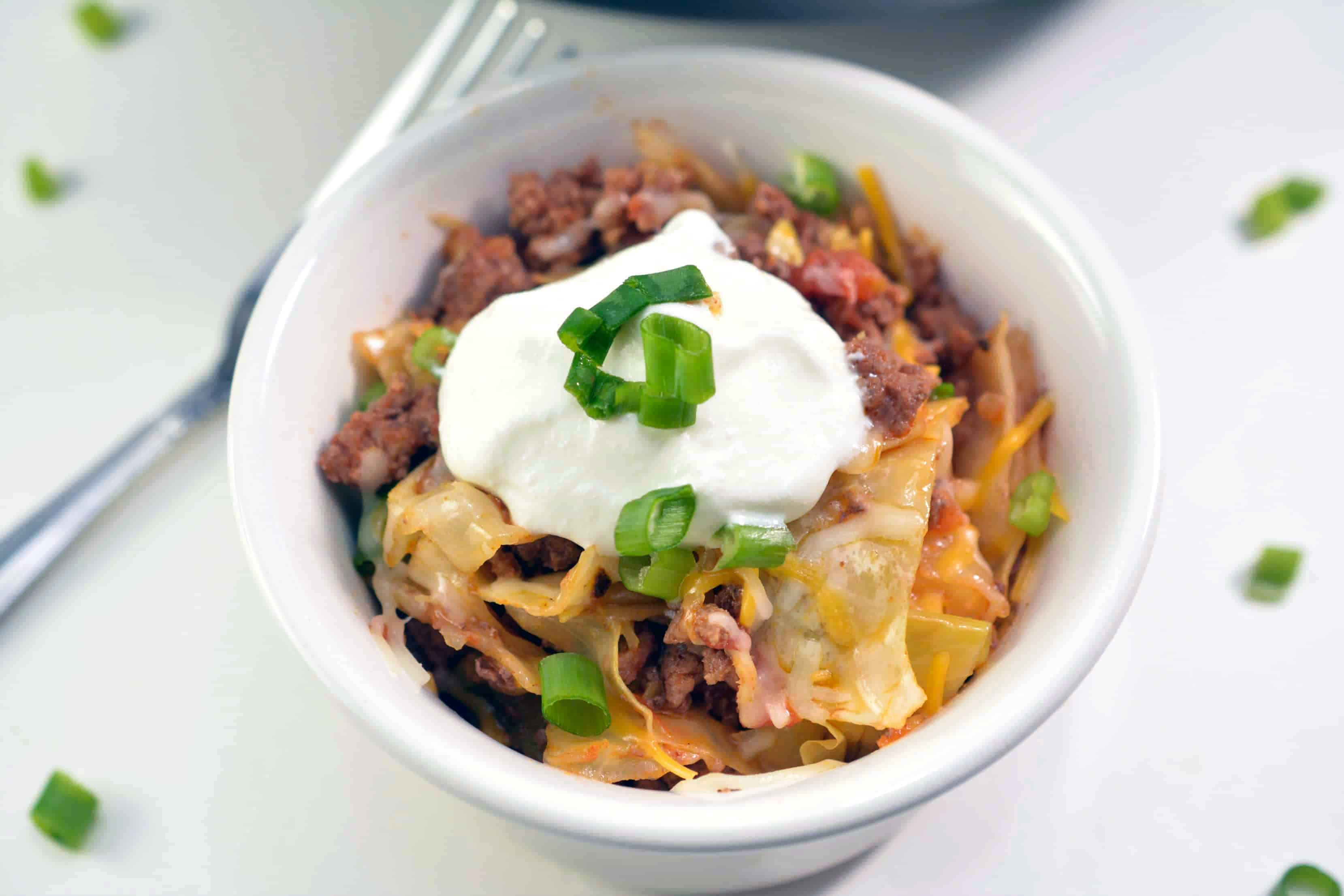 Bowl of ground beef and cabbage