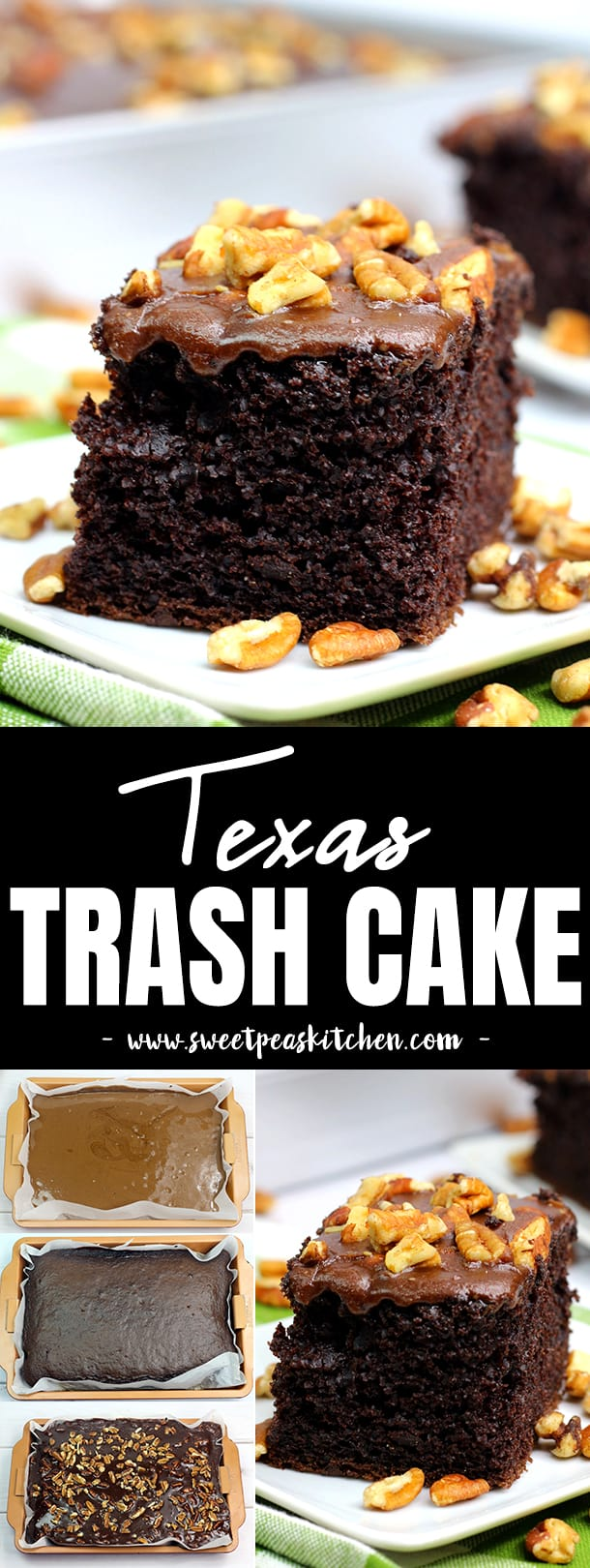Texas Trash Buttermilk Chocolate Cake Recipe with Pecans