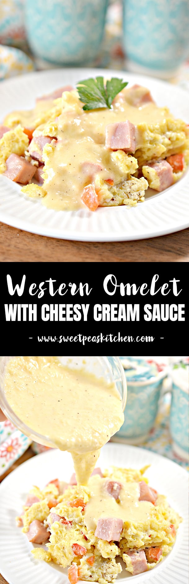 Western Omelet Egg Scramble with Cheese Sauce