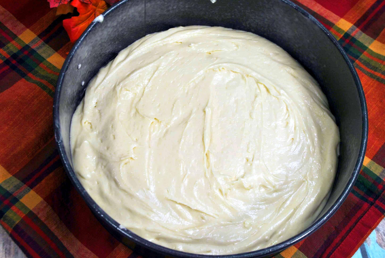 cake batter in a pan