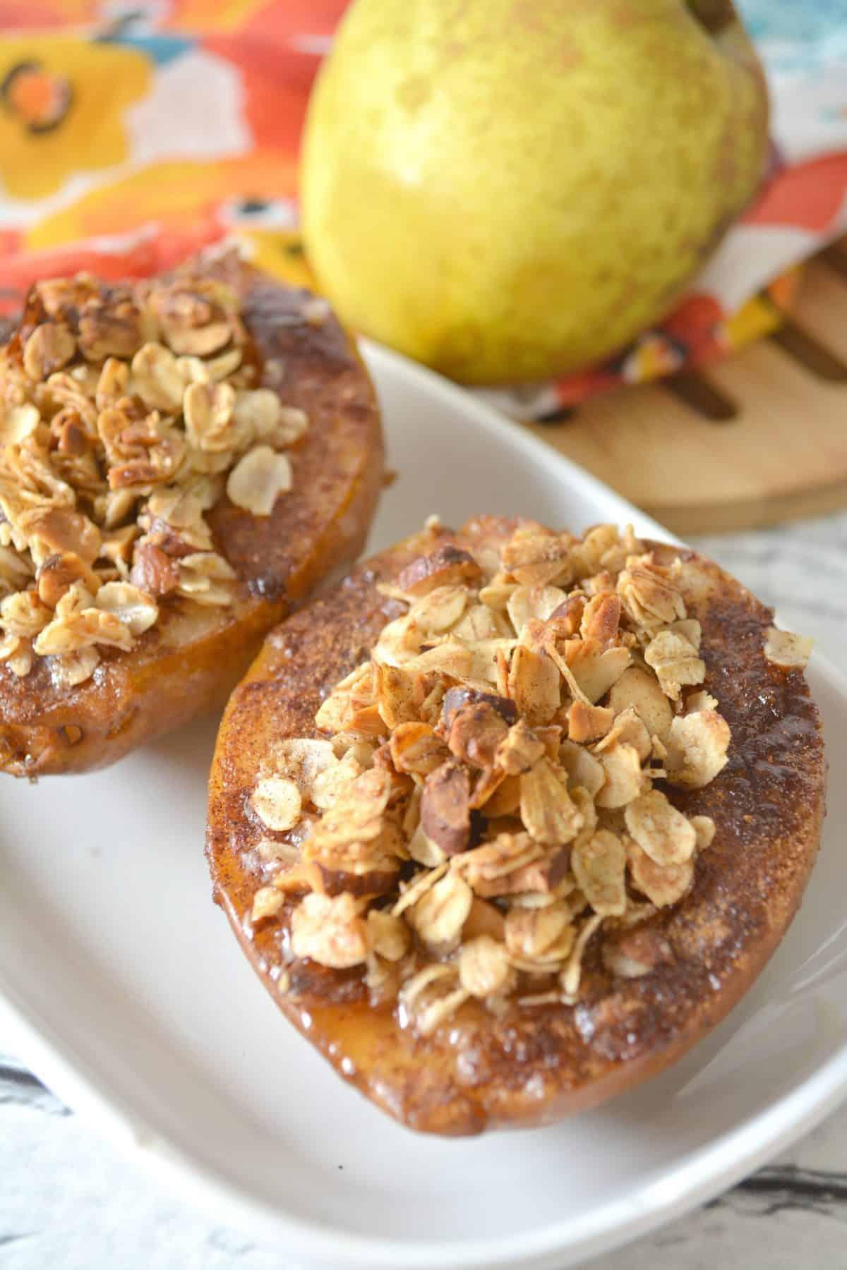 Cinnamon Sugar Baked Pears with Granola Crumble