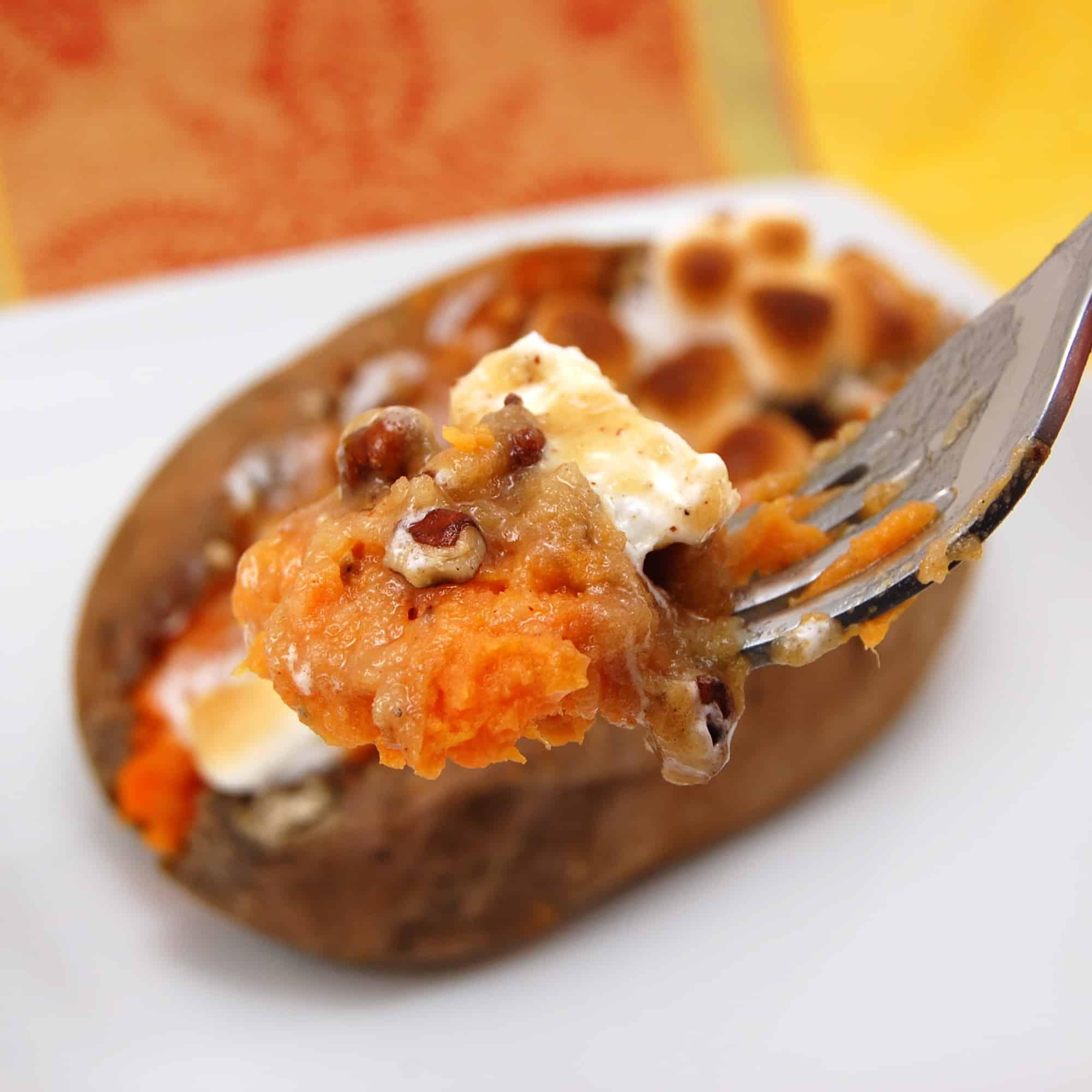 stuffed sweet potatoes on a fork