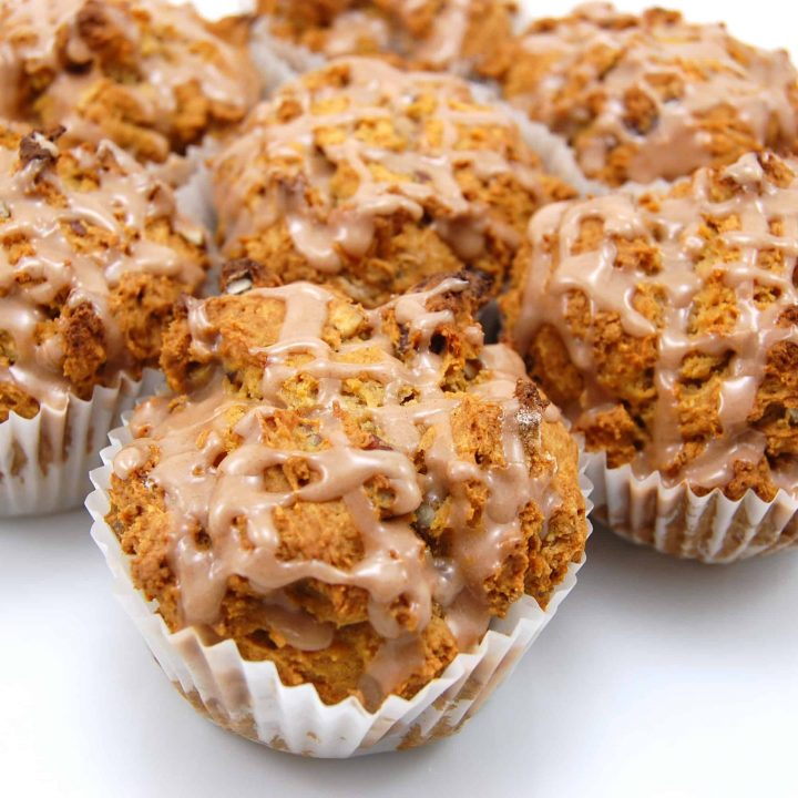 Pecan Sweet Potato Muffins with Cinnamon Glaze