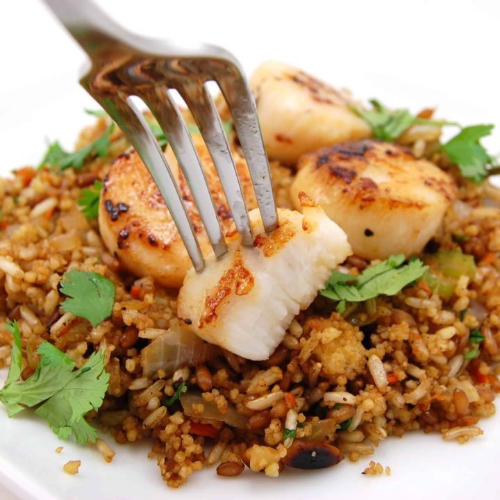Mixed Grain Pilaf with Pan Seared Scallops