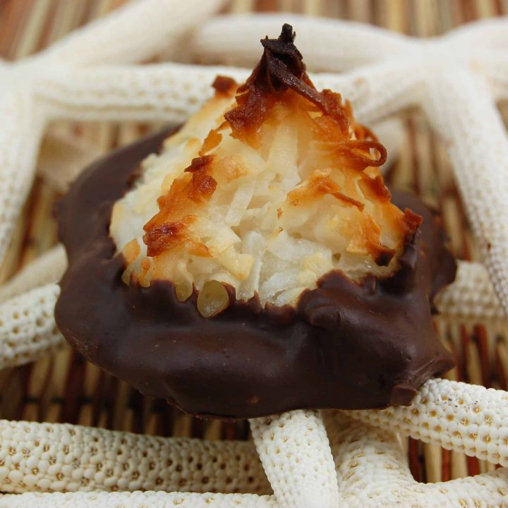 Chocolate-Dipped Coconut Almond Macaroons
