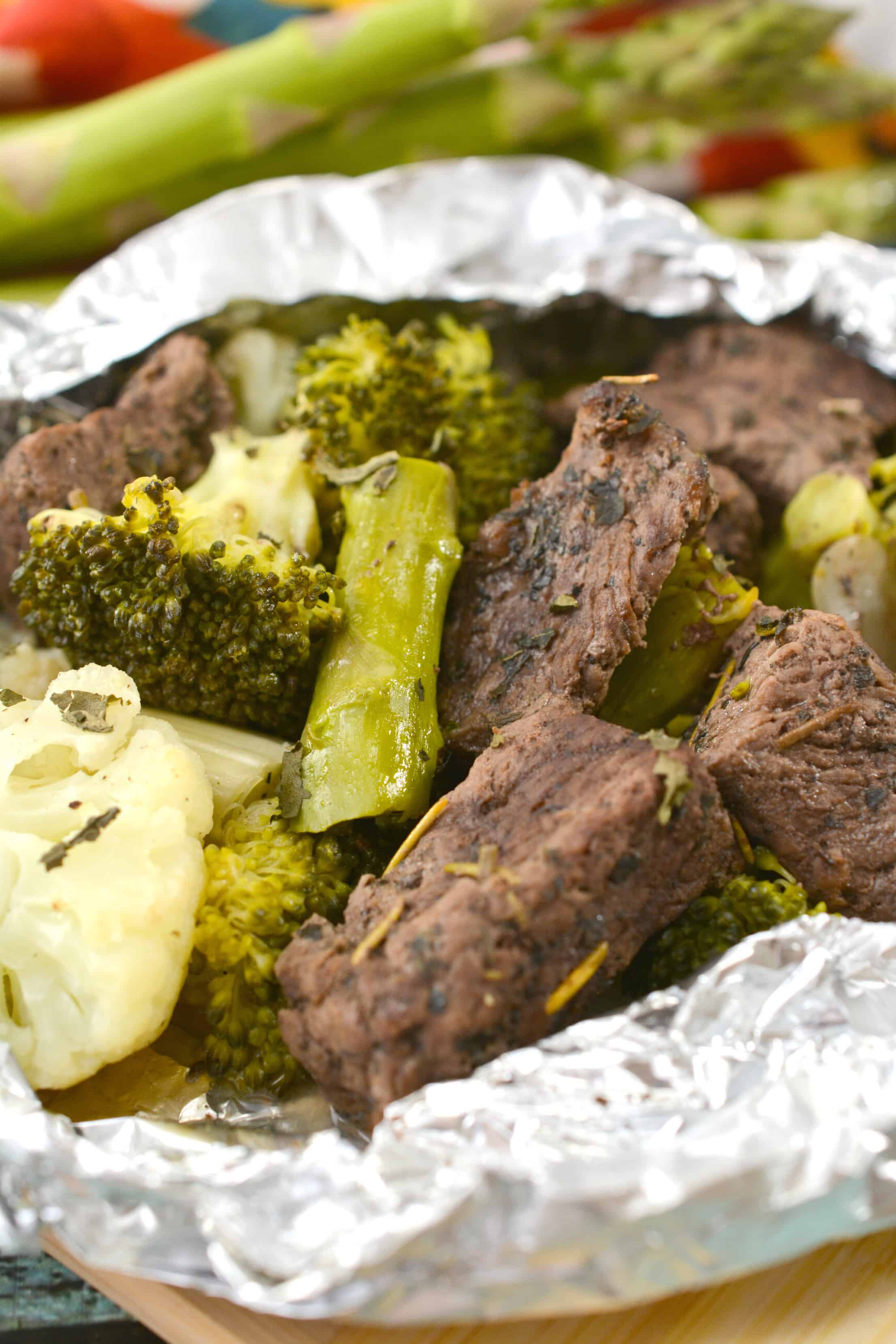 Garlic Butter Steak Foil Packets Recipe
