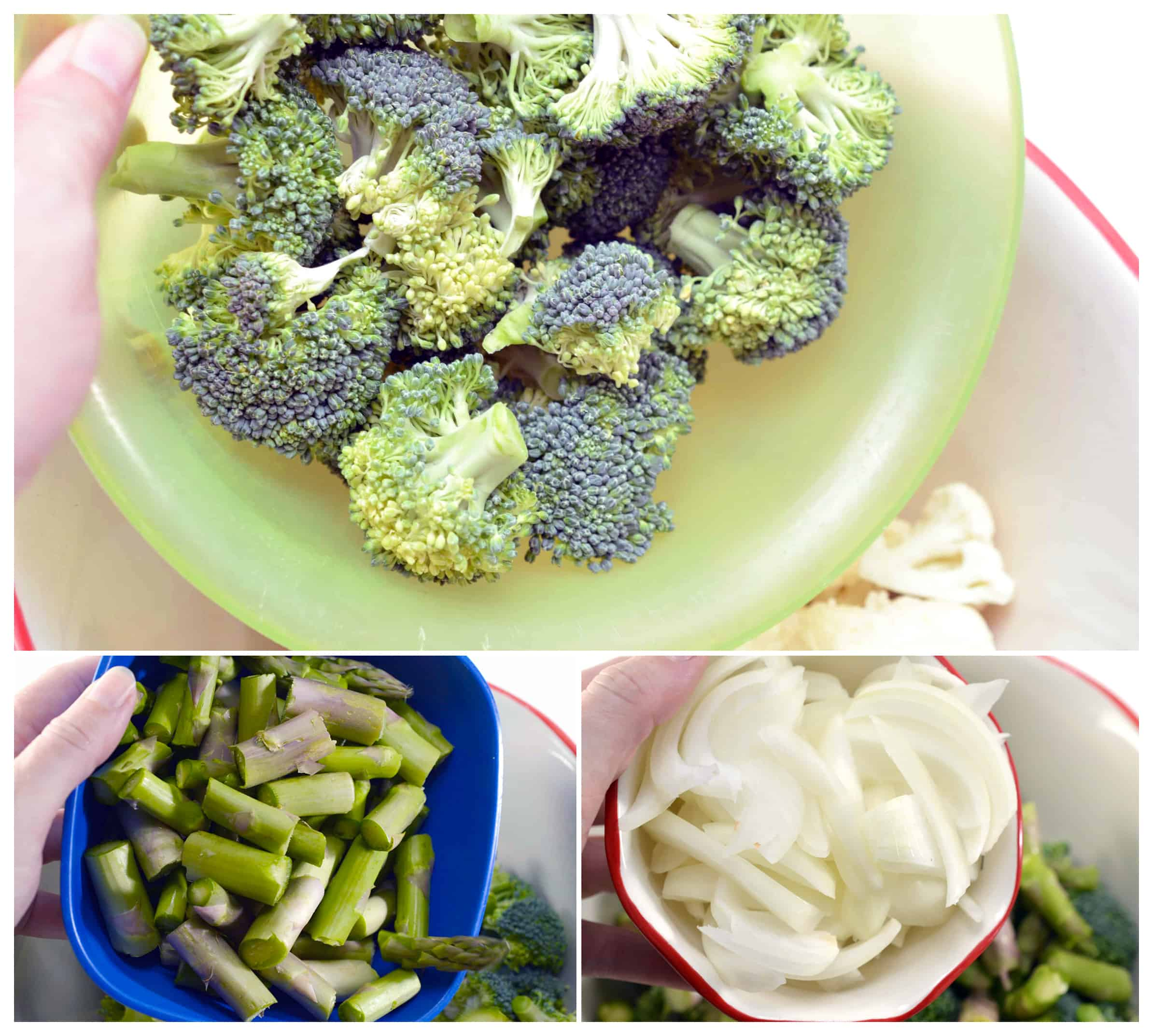 add broccoli put asparagus to the bowl onions to the bowl