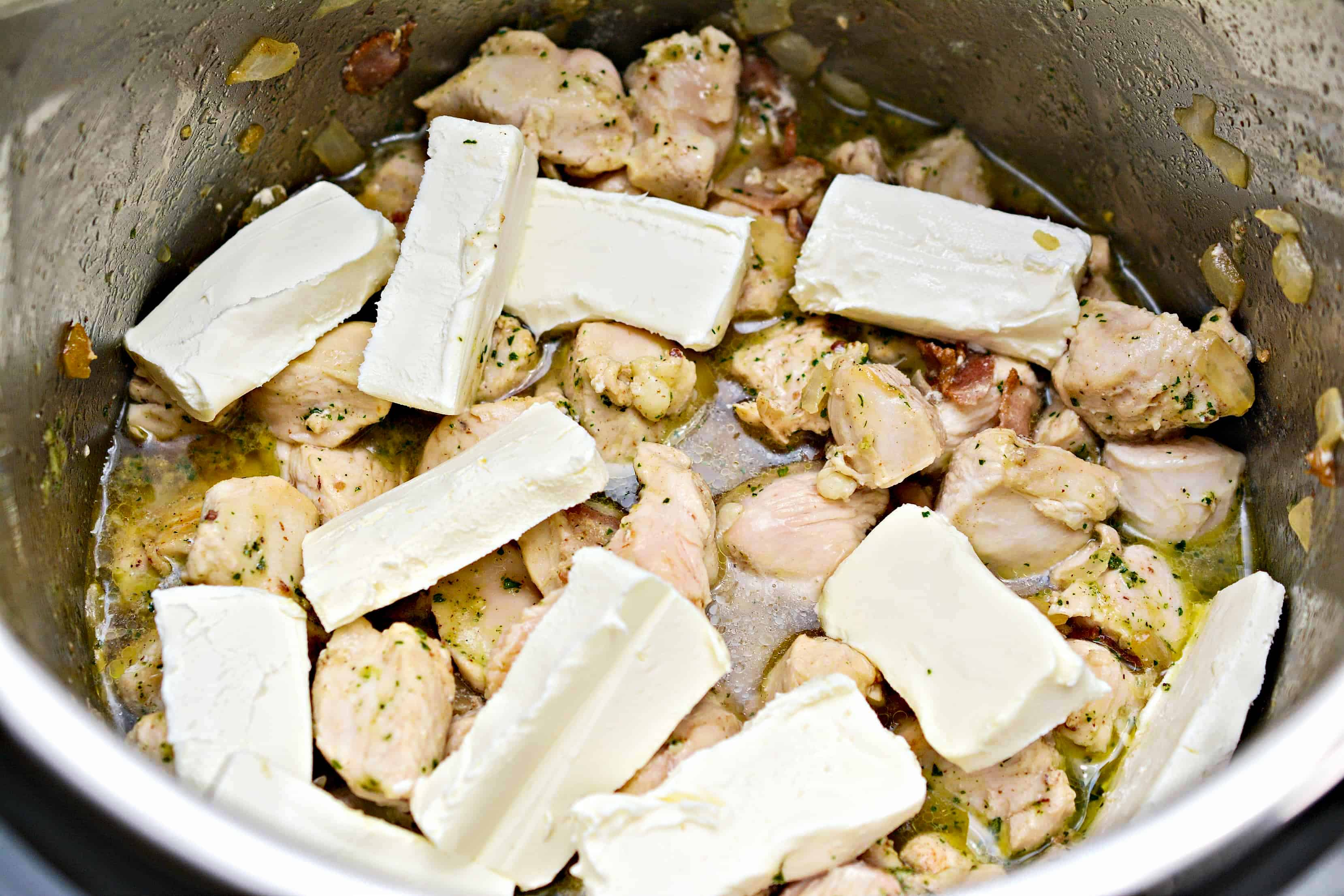 cream cheese and chicken in the Istant Pot