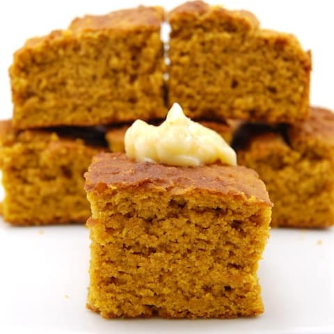 several pieces of pumpkin cornbread cooked