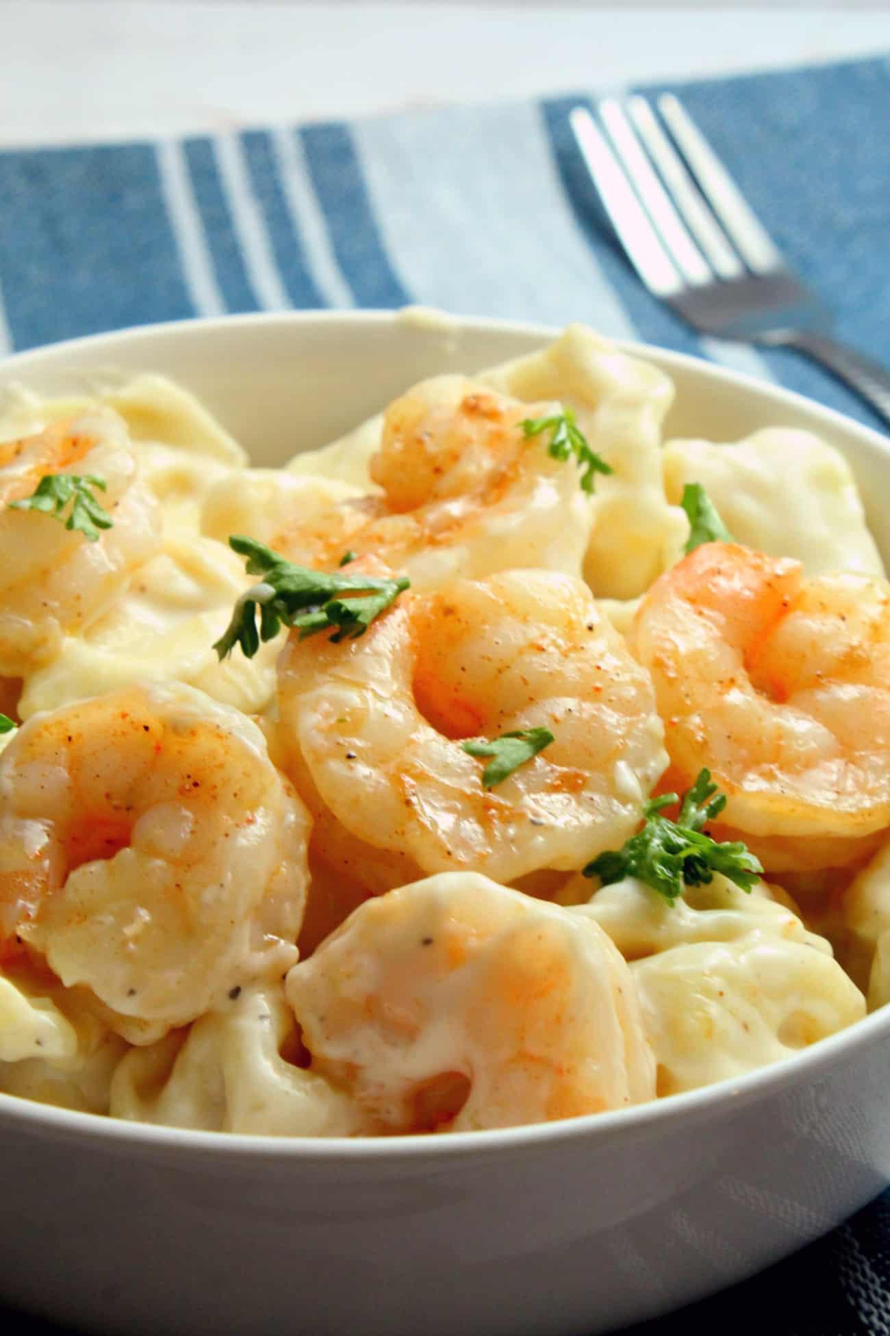 Cheesy Skillet Shrimp Tortellini