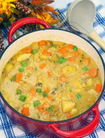 Cheesy Potato Stew in Dutch Oven