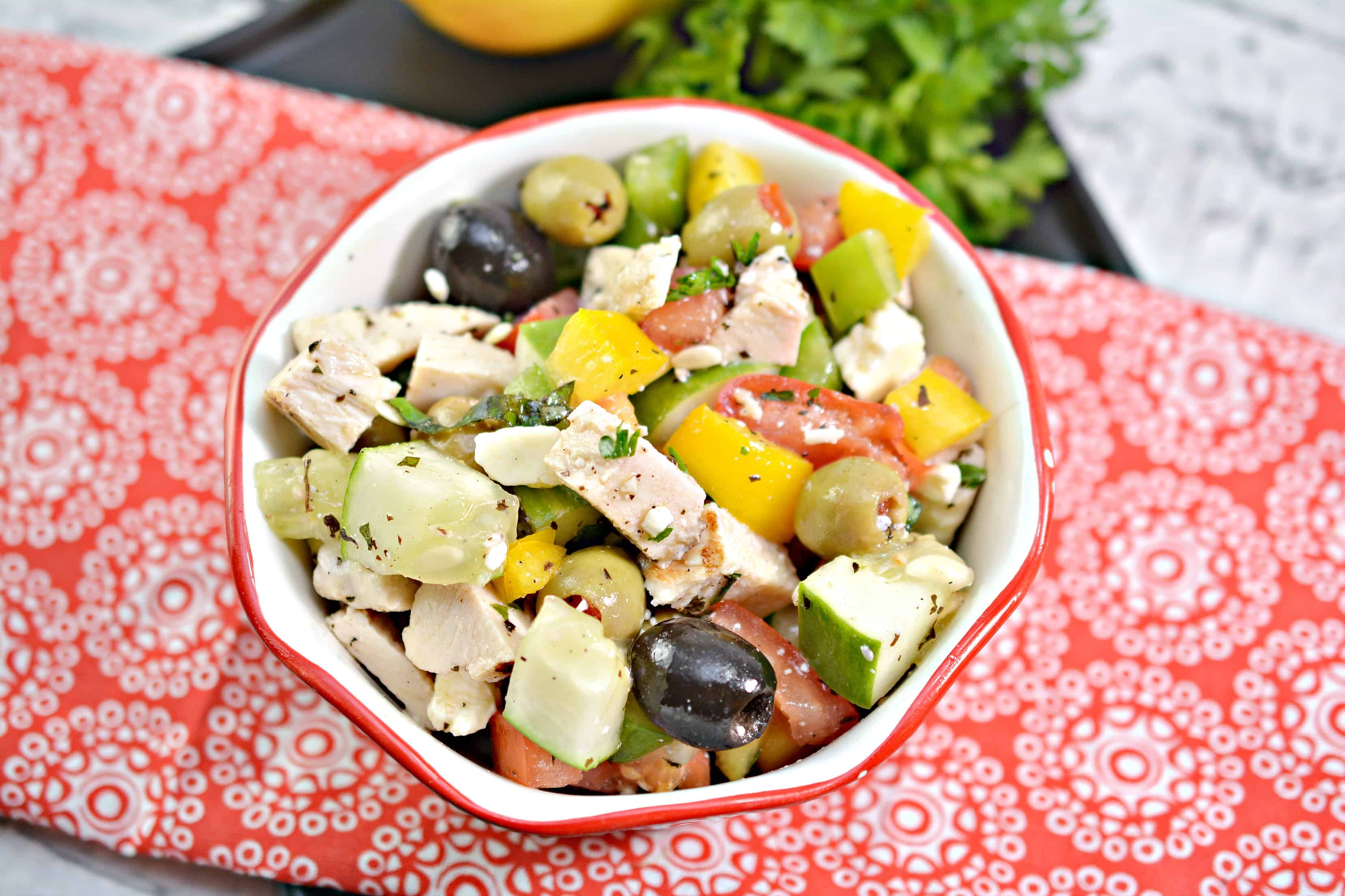 Chopped Greek Salad Recipe with Grilled Chicken